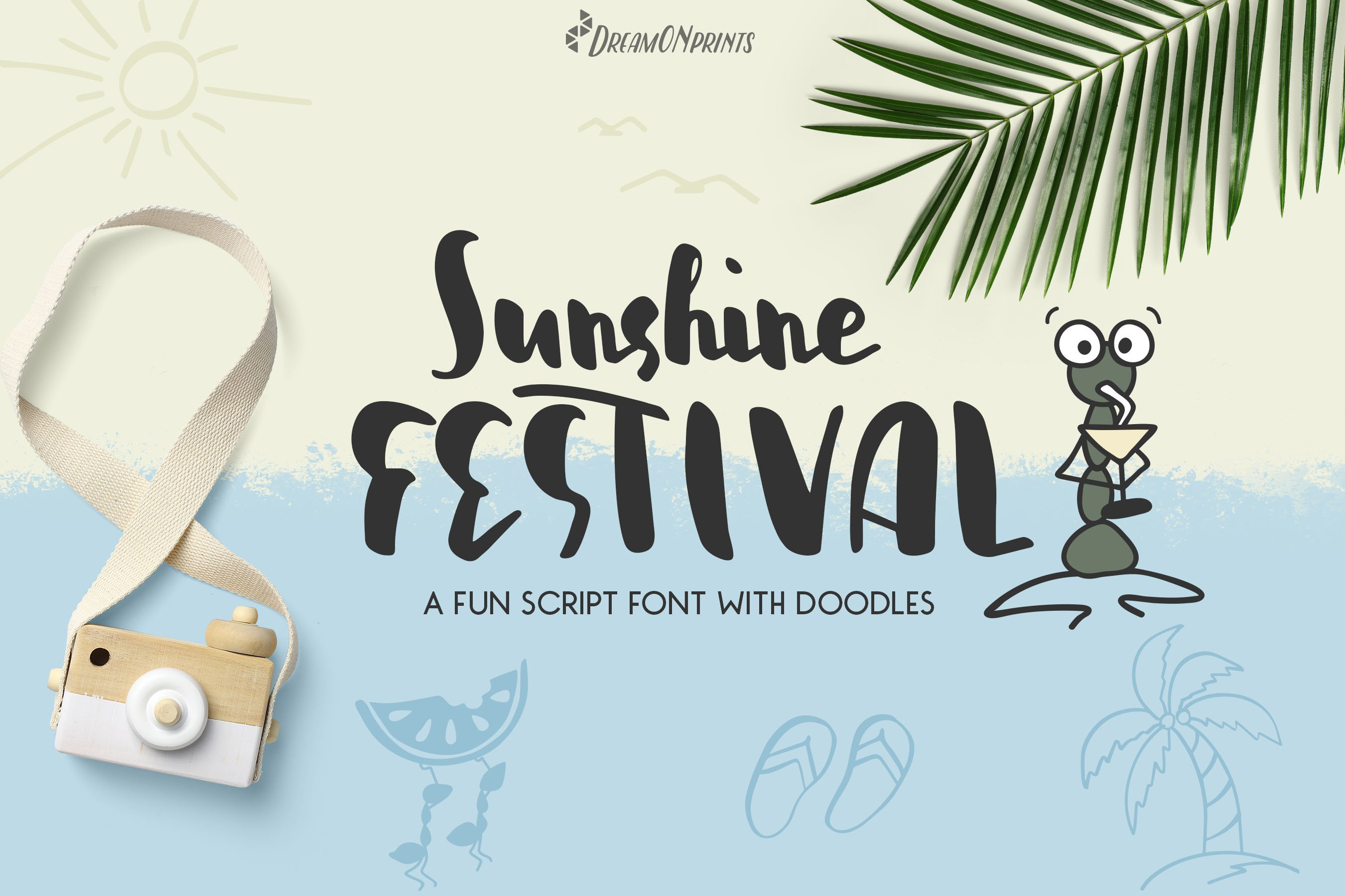 Sunshine Festival - Fun Script Font with Doodles example image 1