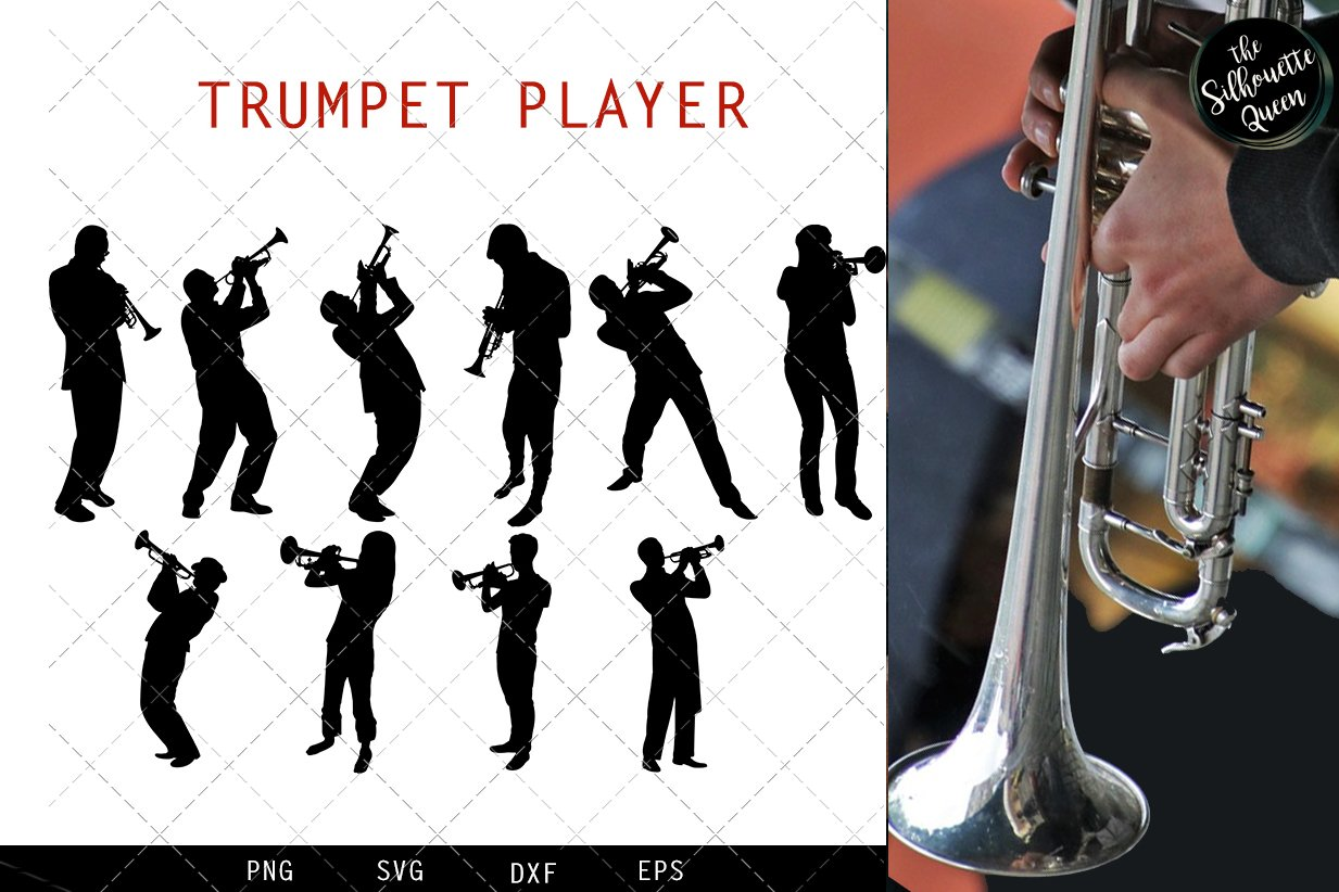 Trumpet Player svg file, jazz musician svg cut file example image 1