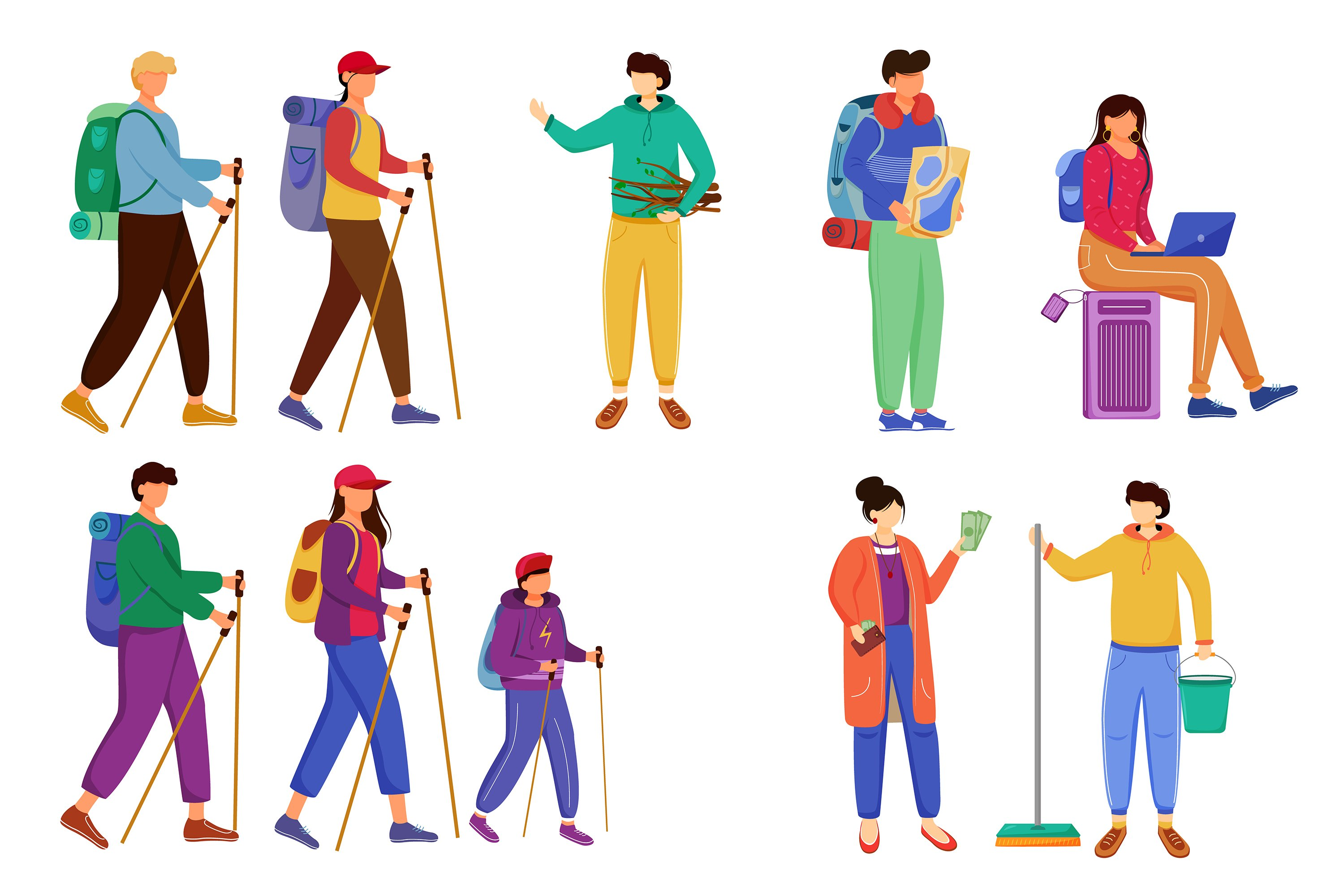 Budget tourism flat vector illustrations set example image 1