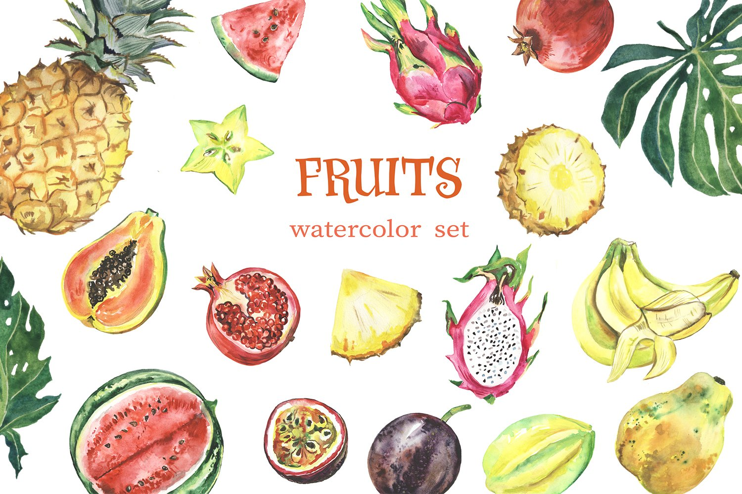 Watercolor tropical fruit clipart. Summer clip art. Fruits example image 1