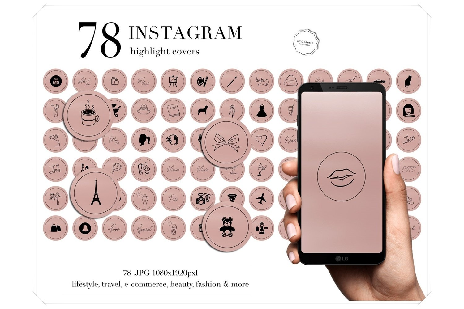 Black On Blush Pink Instagram Highlight Covers 197872 Icons Design Bundles