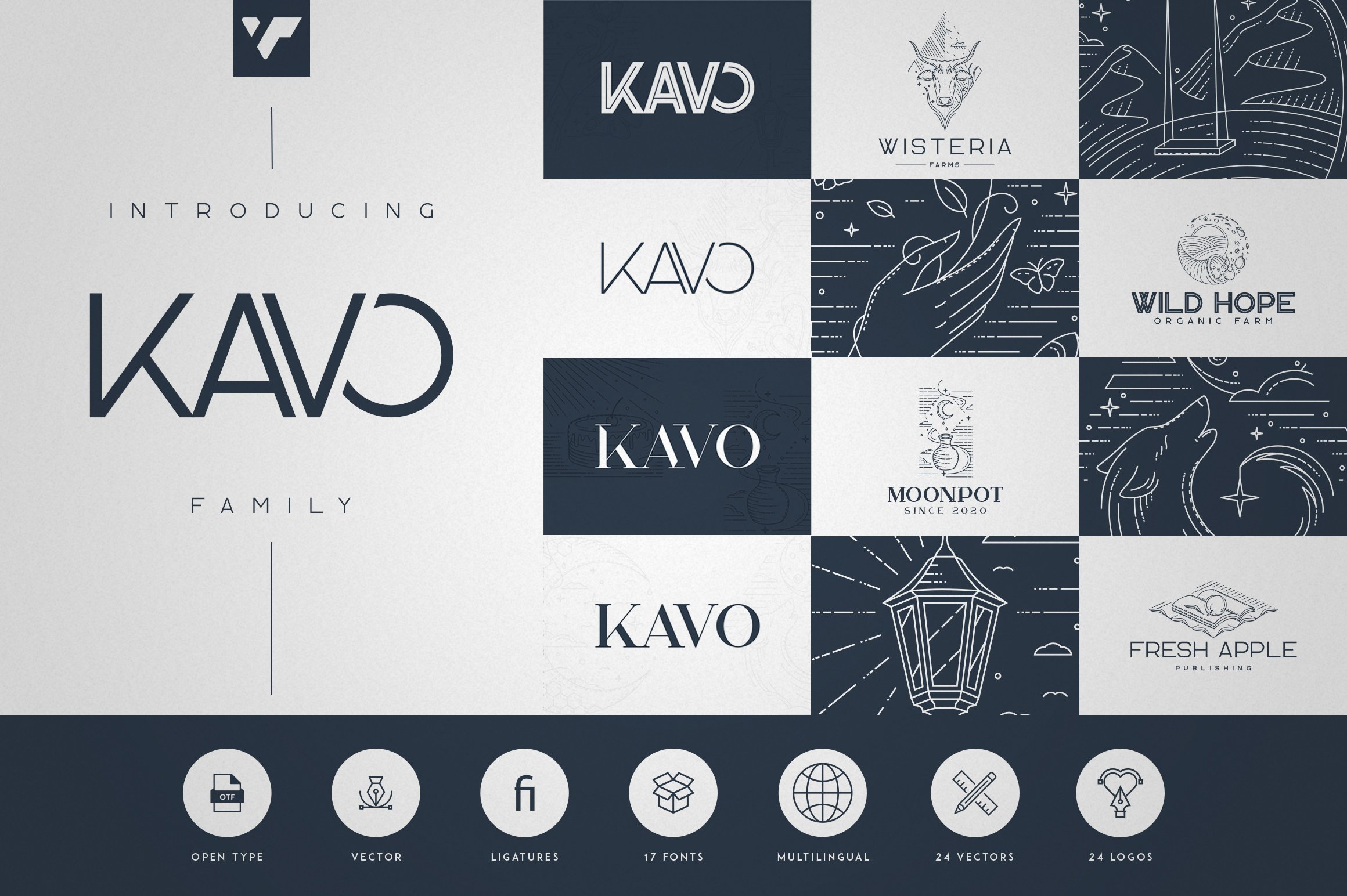 Kavo Family - 17 fonts 24 logos example image 1