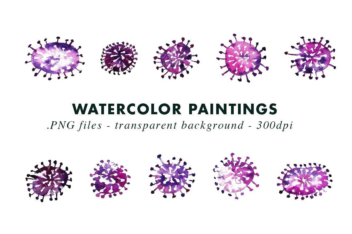 Watercolor Coronavirus Illustrations Covid-19 example image 3