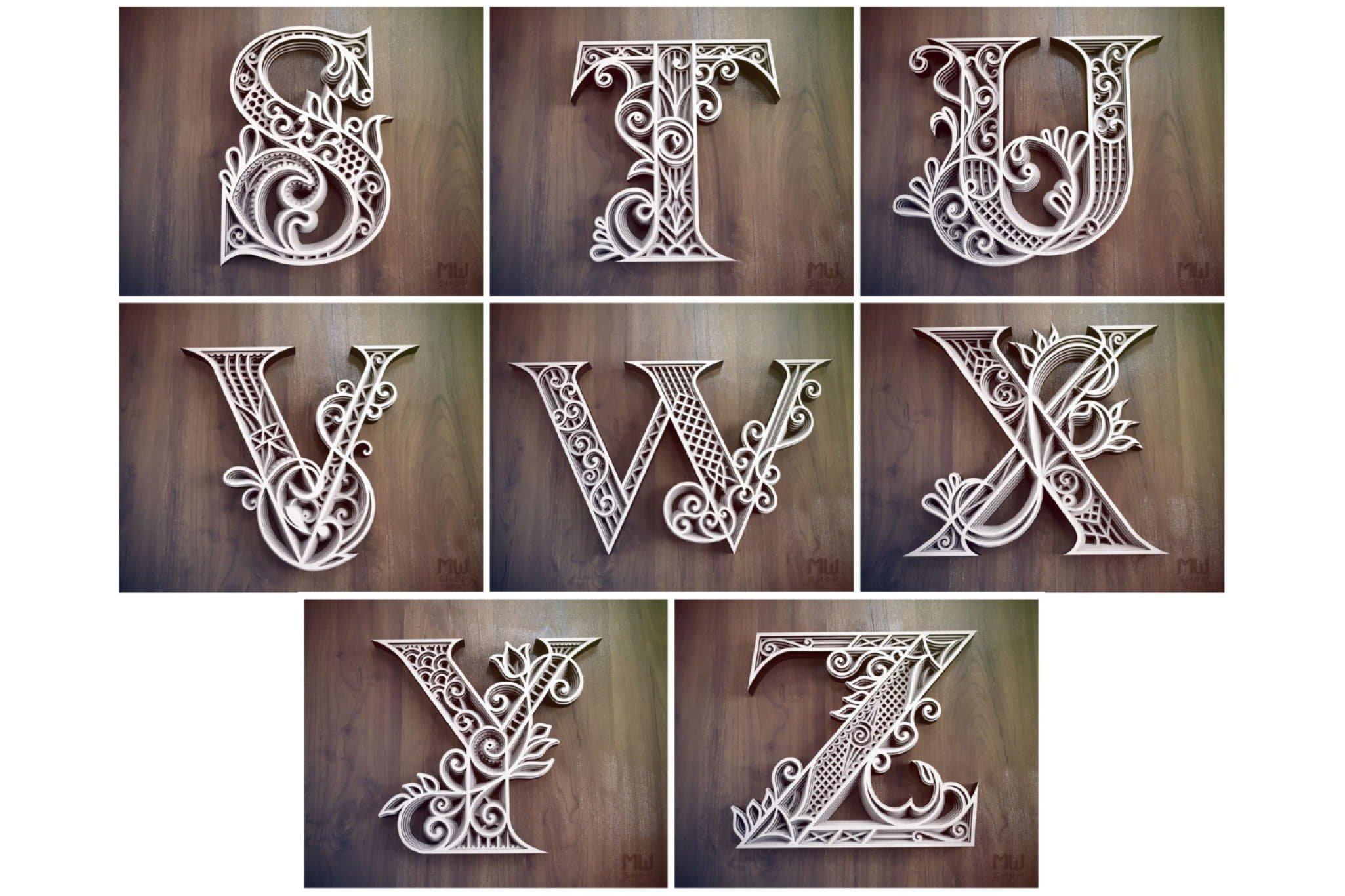 A-Z Layered Letters Bundle, Alphabet letters Bundle example image 7