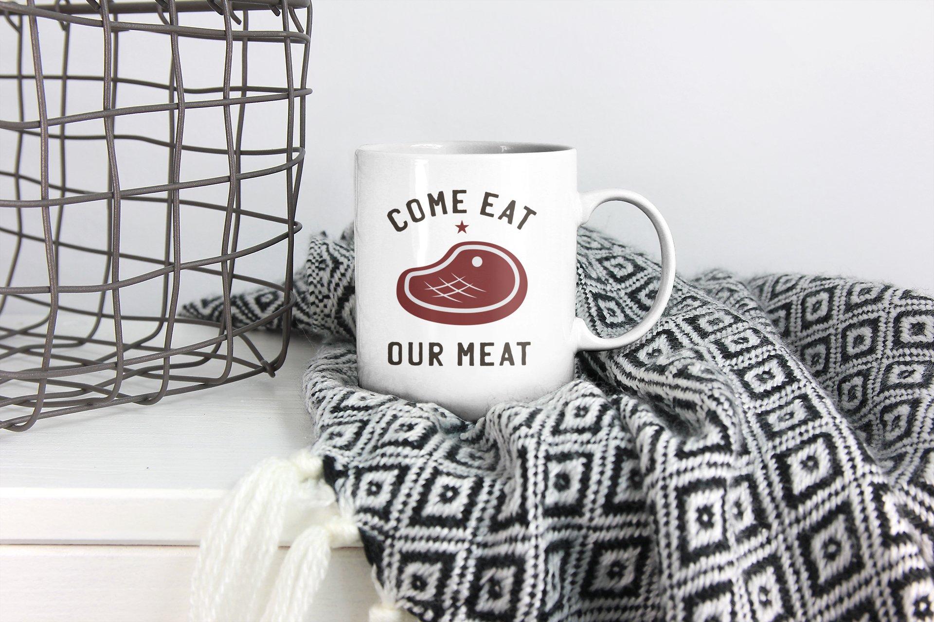 Eat My Meat BBQ Logo Design Retro Vector Badge Cut Files example image 3