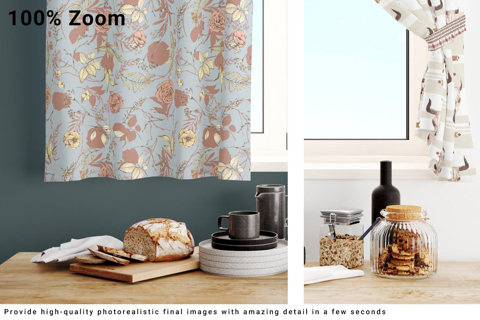 Kitchen Short Curtains Mockup Set example image 6