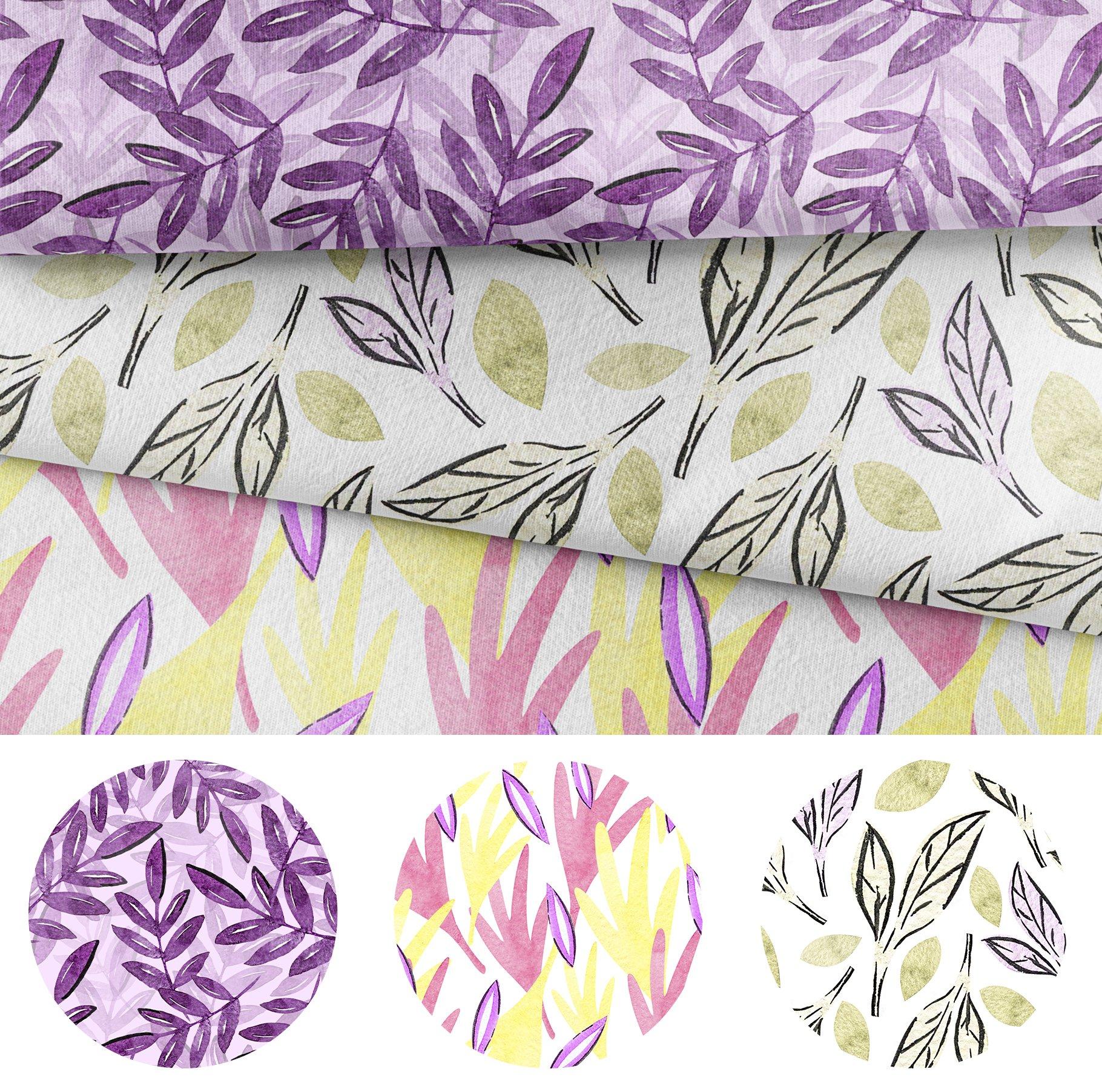 Watercolor Leaf Digital Scrapbook Paper, Seamless Patterns example image 5
