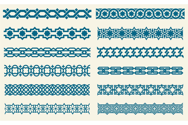 Download Islamic Ornaments Link Seamless Vector Decorative Borders 862811 Illustrations Design Bundles