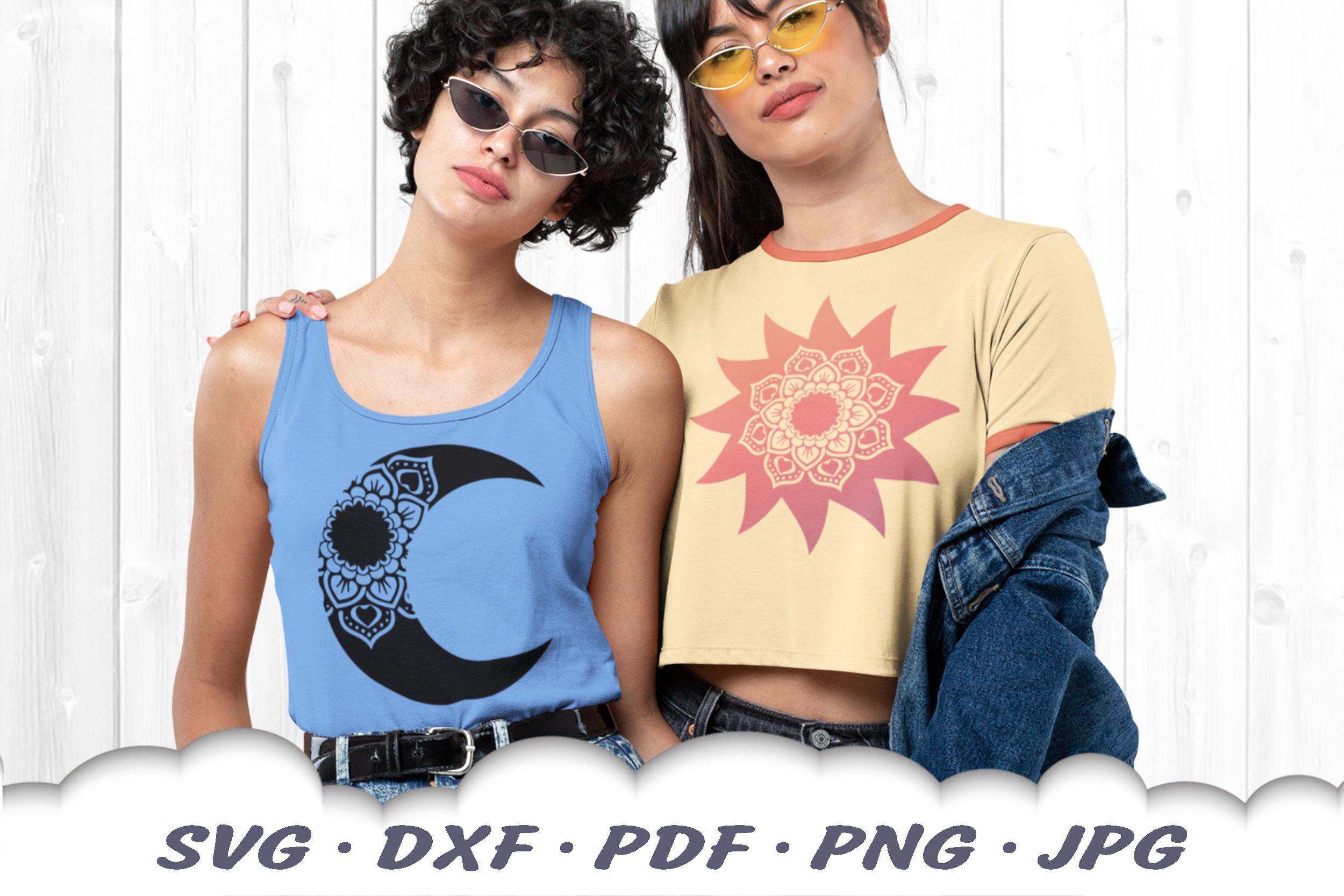Sun & Moon Celestial Mandala SVG Bundle DXF Cut Files example image 3