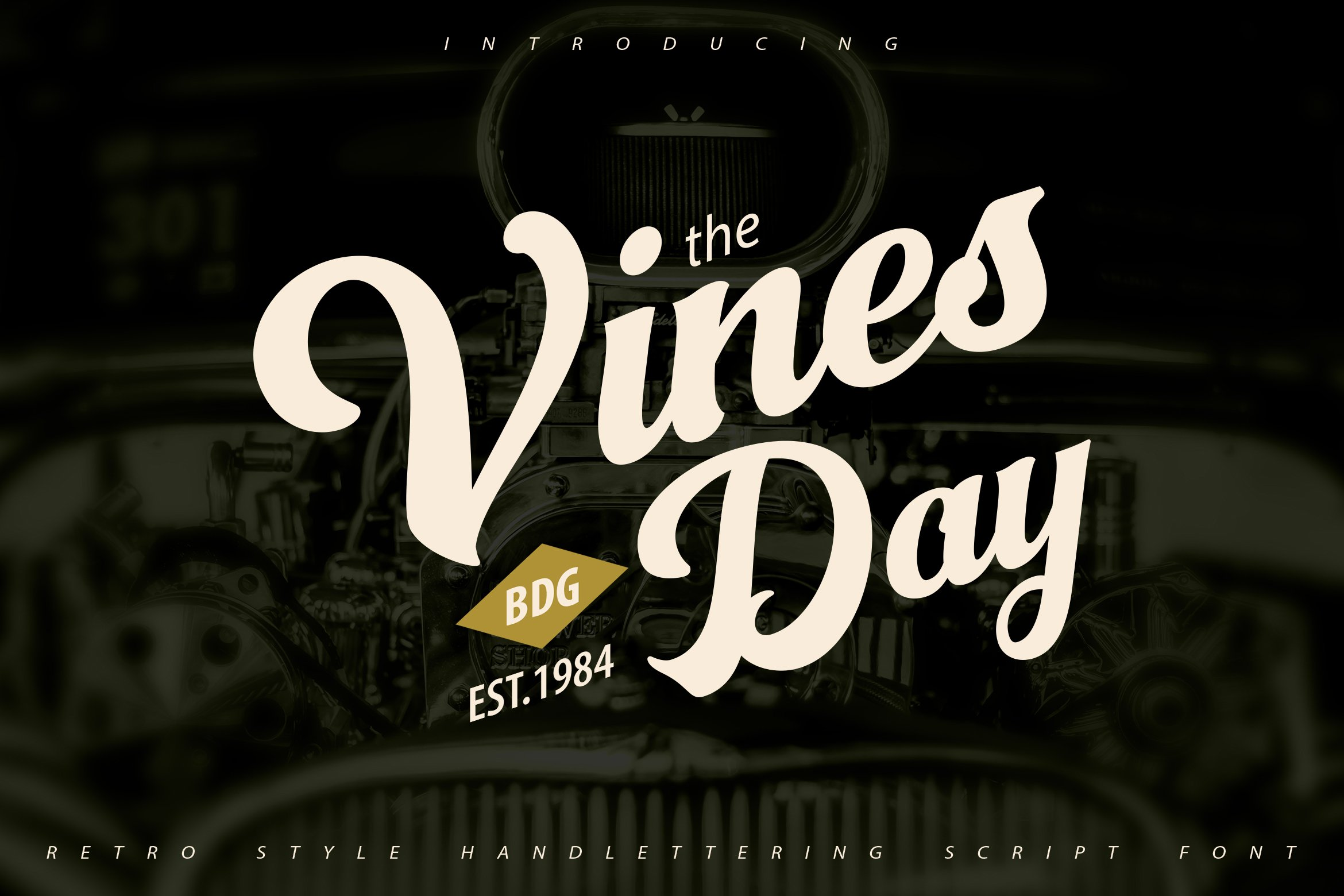 Vinesday   Retro Style Handlettering Script Font example image 1