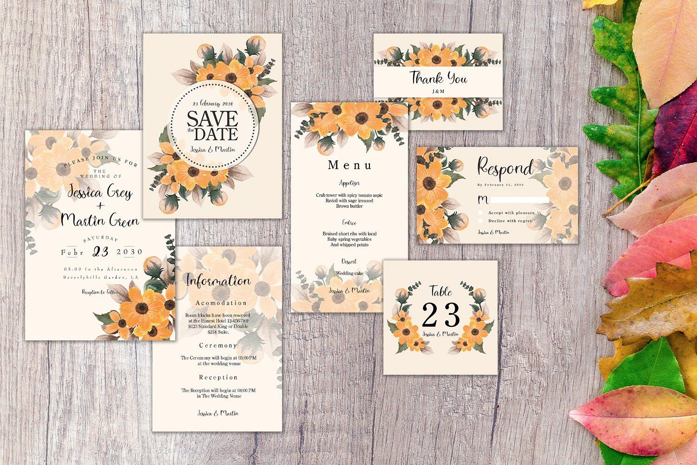 Autumn Floral Wedding Invitation Set example image 1