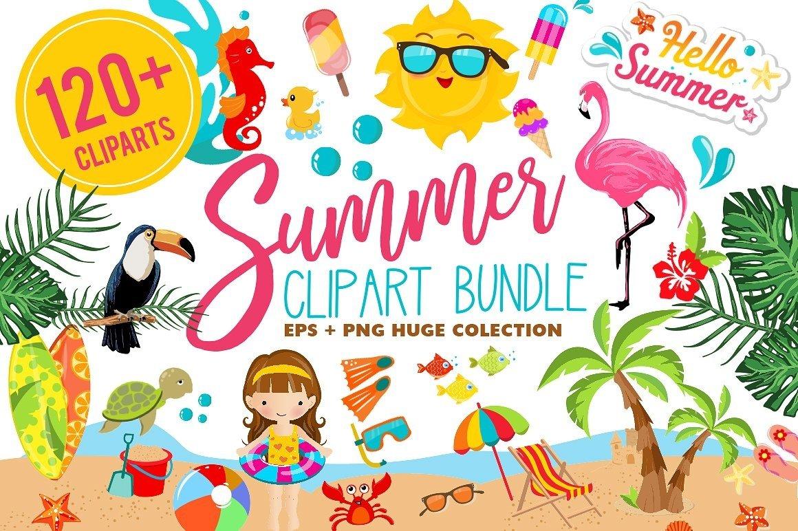 Summer Clipart Bundle 126 Cliparts 24191 Clipart Design Bundles