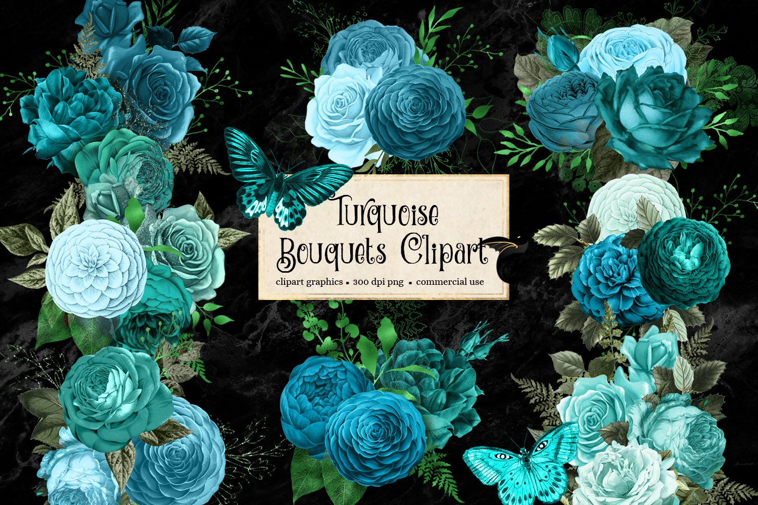 Turquoise Bouquets Clipart example image 1