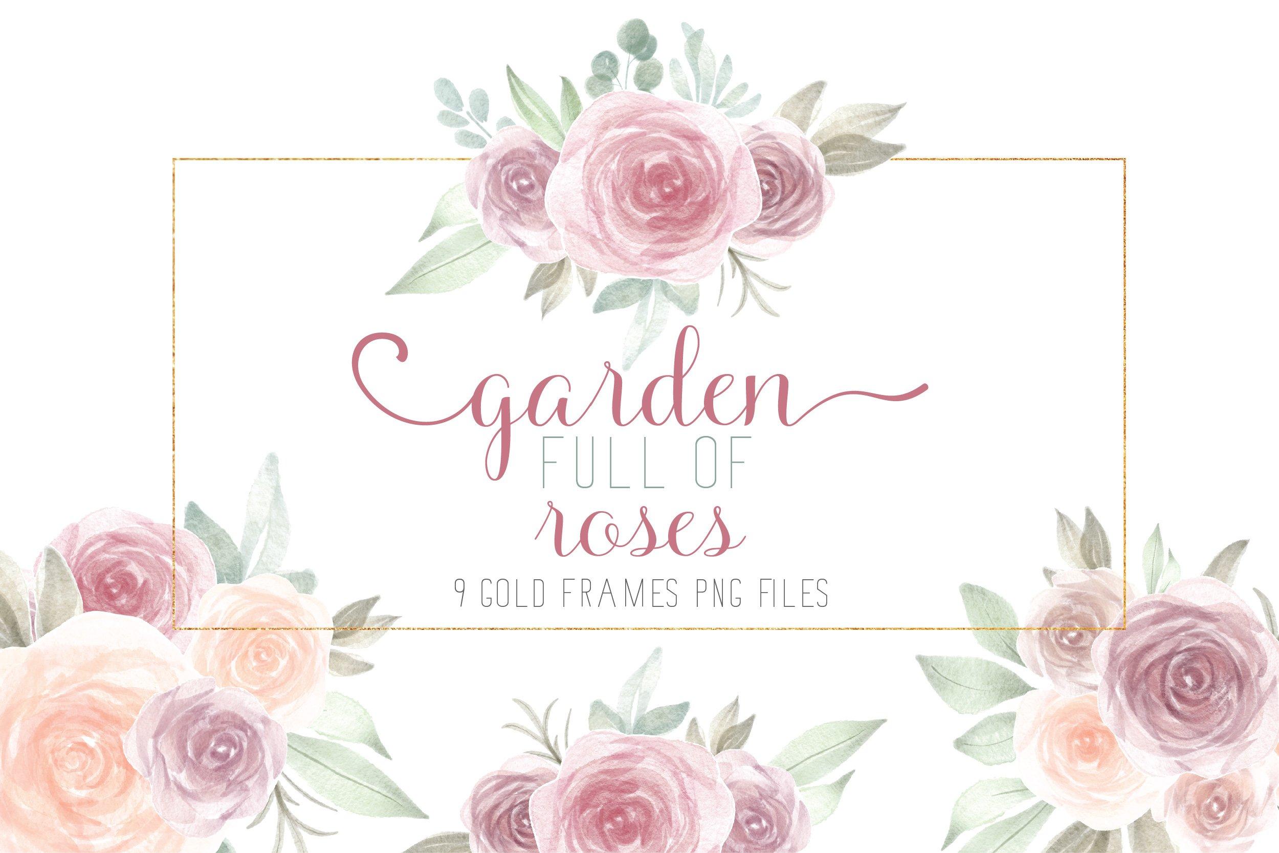 Watercolor Flowers Bouquets With Frames 1033064 Illustrations Design Bundles