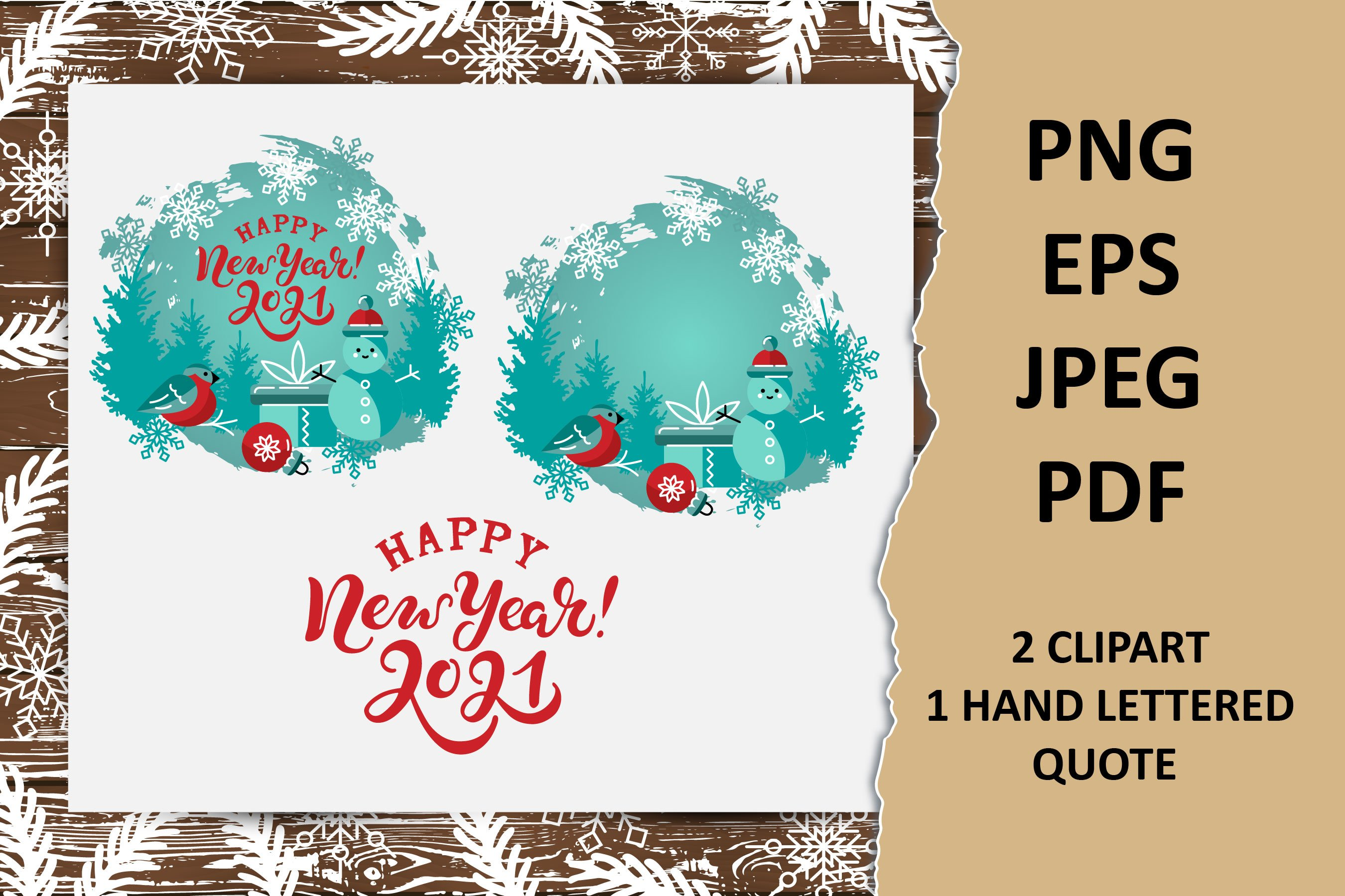 happy new year 2021 clipart with snowman hand lettered sign 947389 elements design bundles happy new year 2021 clipart with snowman hand lettered sign