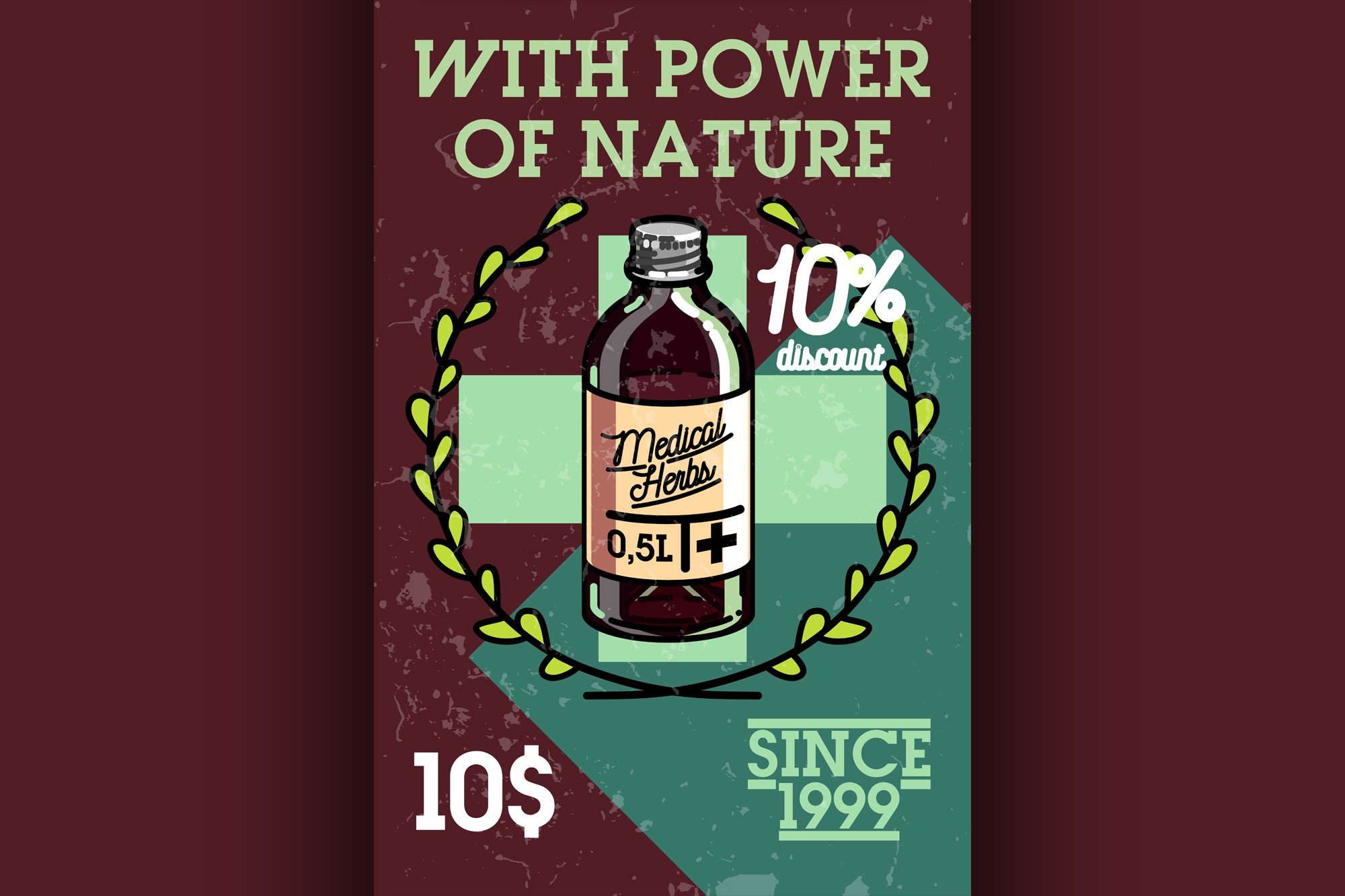 Color vintage medical plants herbs banner example image 1
