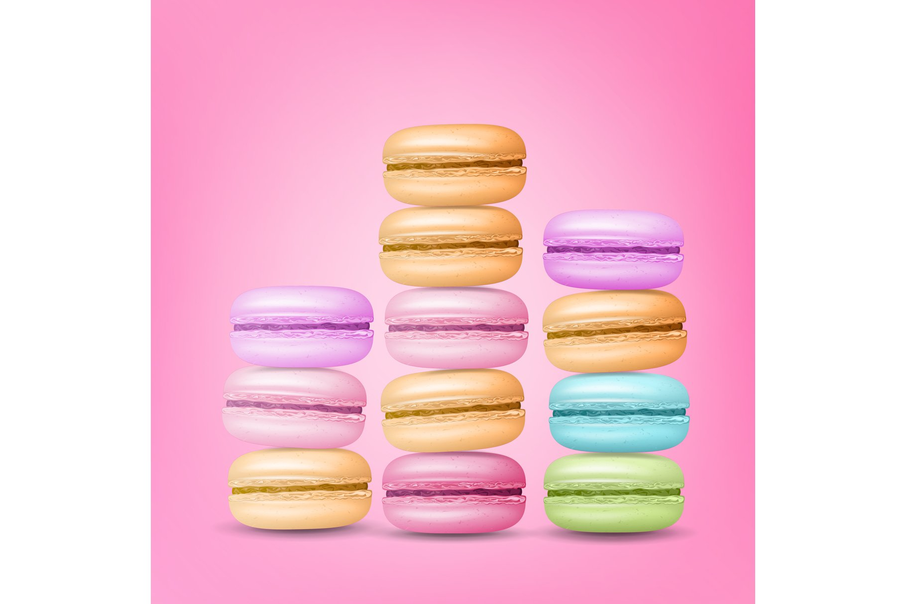 Macarons Set Vector. Colourful Sweet French Macaroons On example image 1