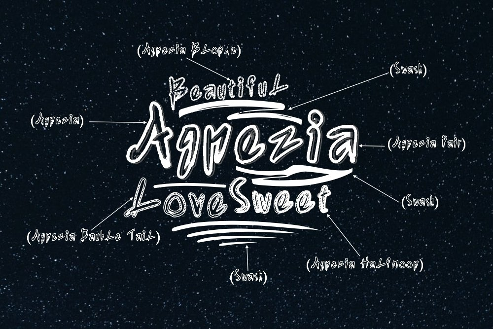Agnezia - 5 Font styles and 150 Swashes example image 3