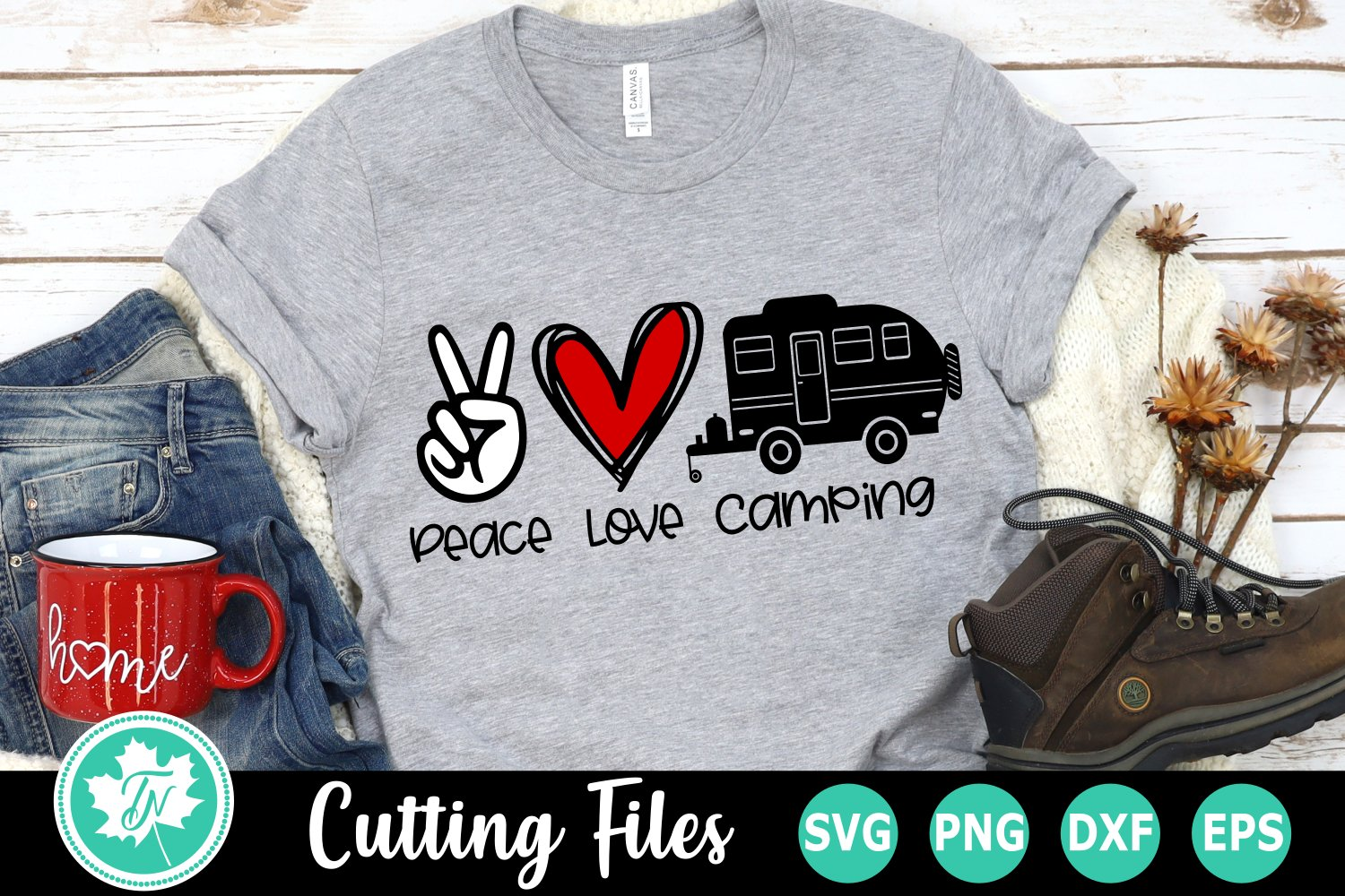 Peace Love Camping - A Camping SVG Cut File example image 1