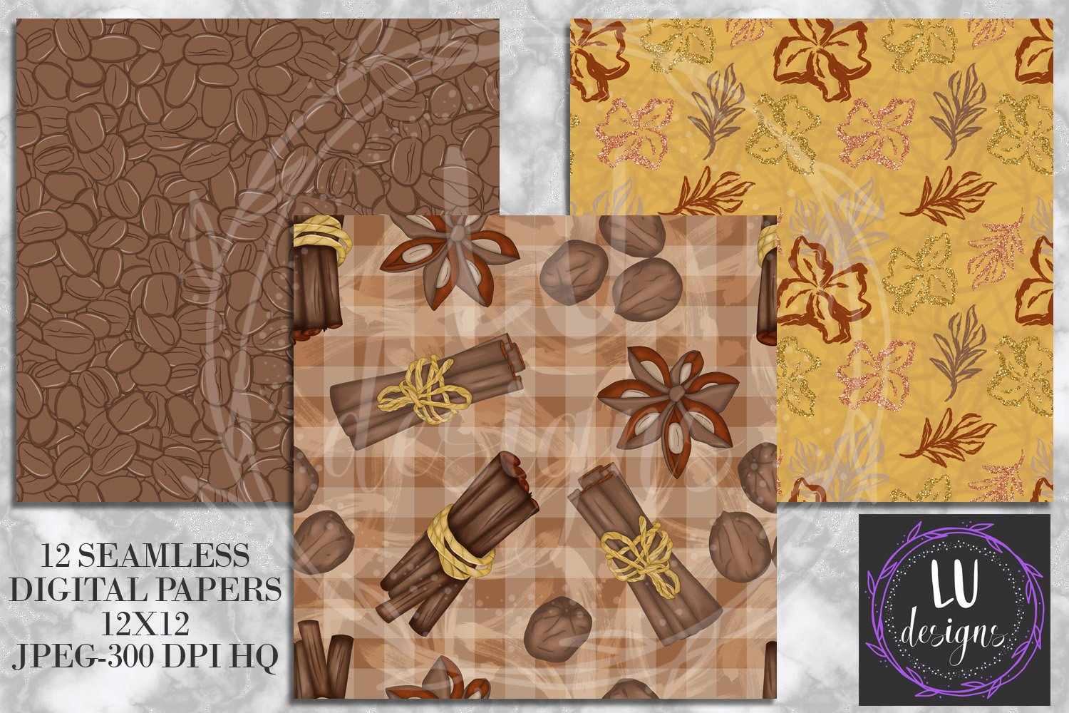 Cinnamon Spice Autumn Digital Paper, Fall Coffee Backgrounds example image 2