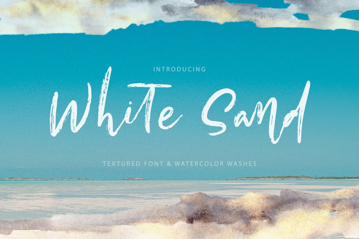 White Sand. Hand Drawn Textured Font example image 1