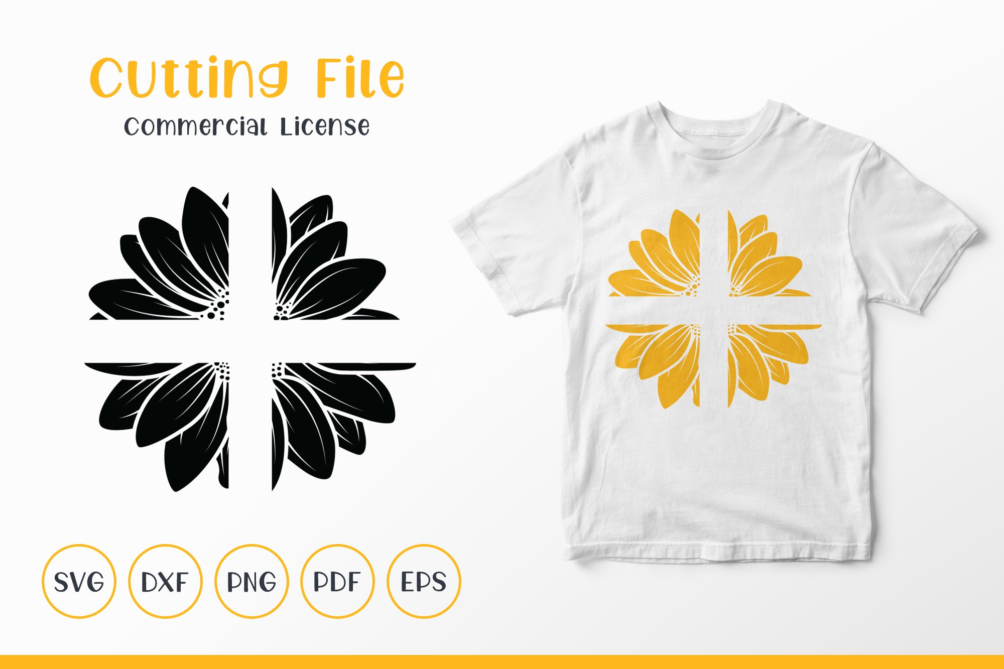Sunflower SVG, Sunflower Clipart SVG, Sunflower Split SVG example image 1