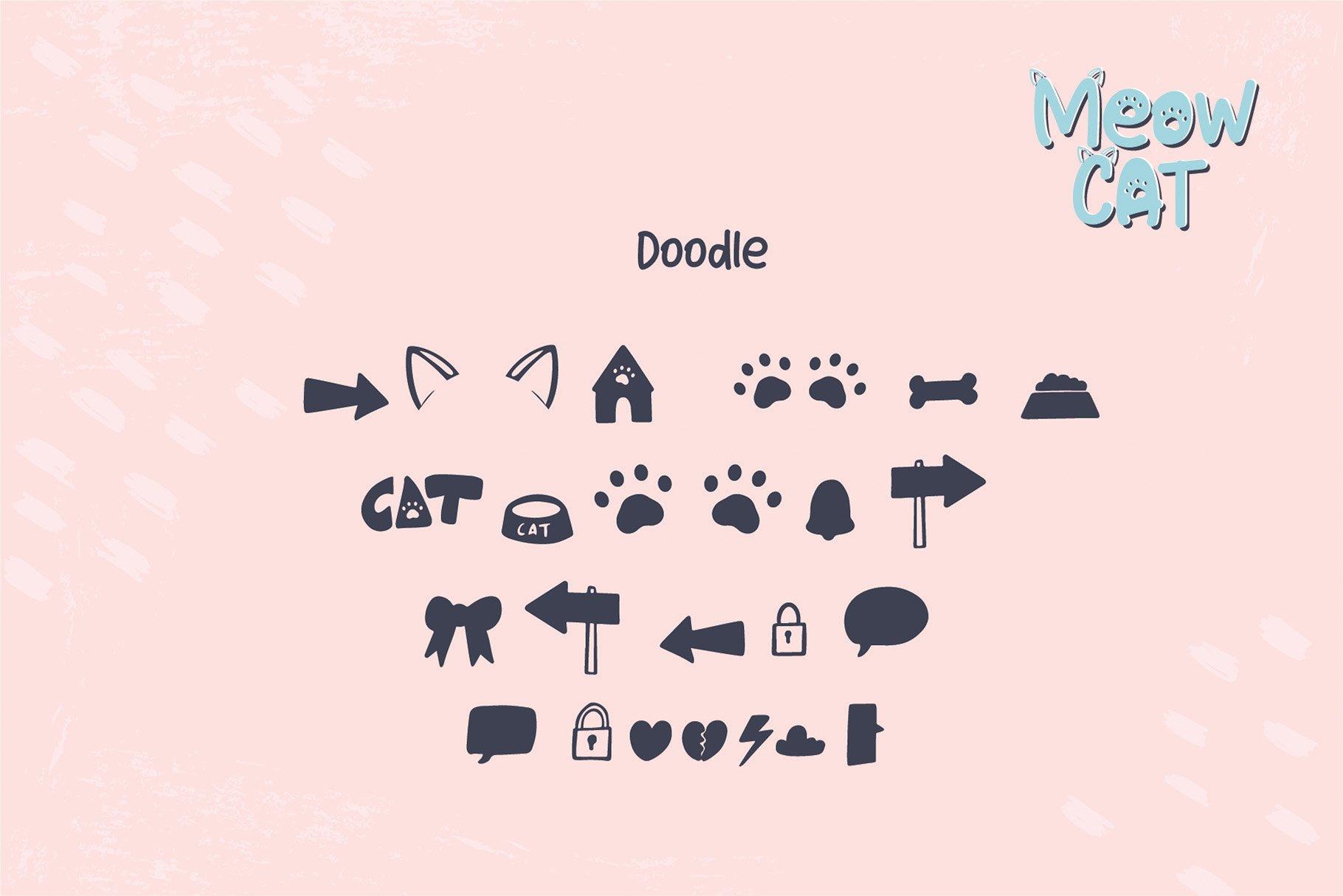 Cat Meow - 3 Font Plus Bonus Clip Arts example image 8