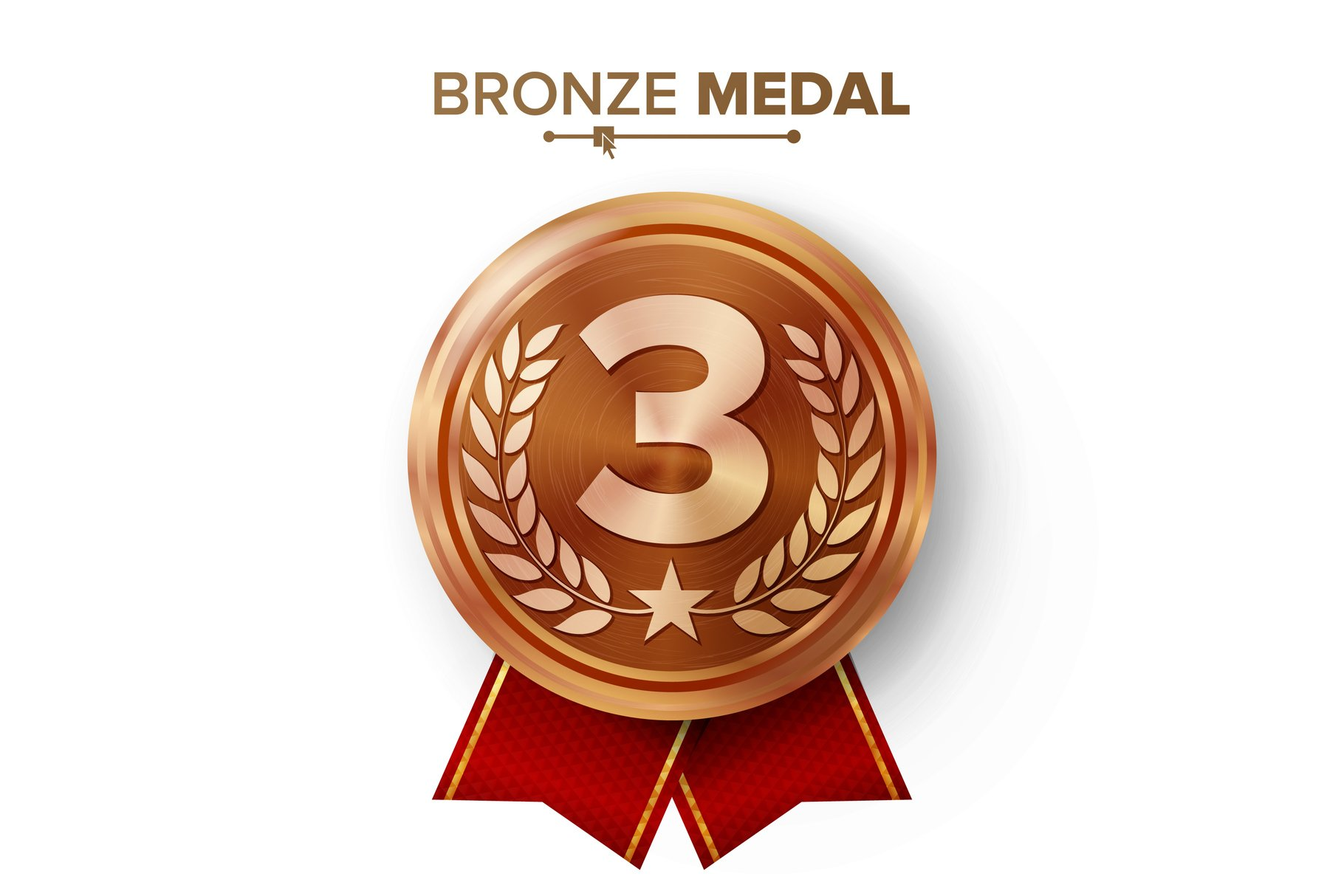 Bronze 3st Place Medal Vector. Metal Realistic Badge With example image 1