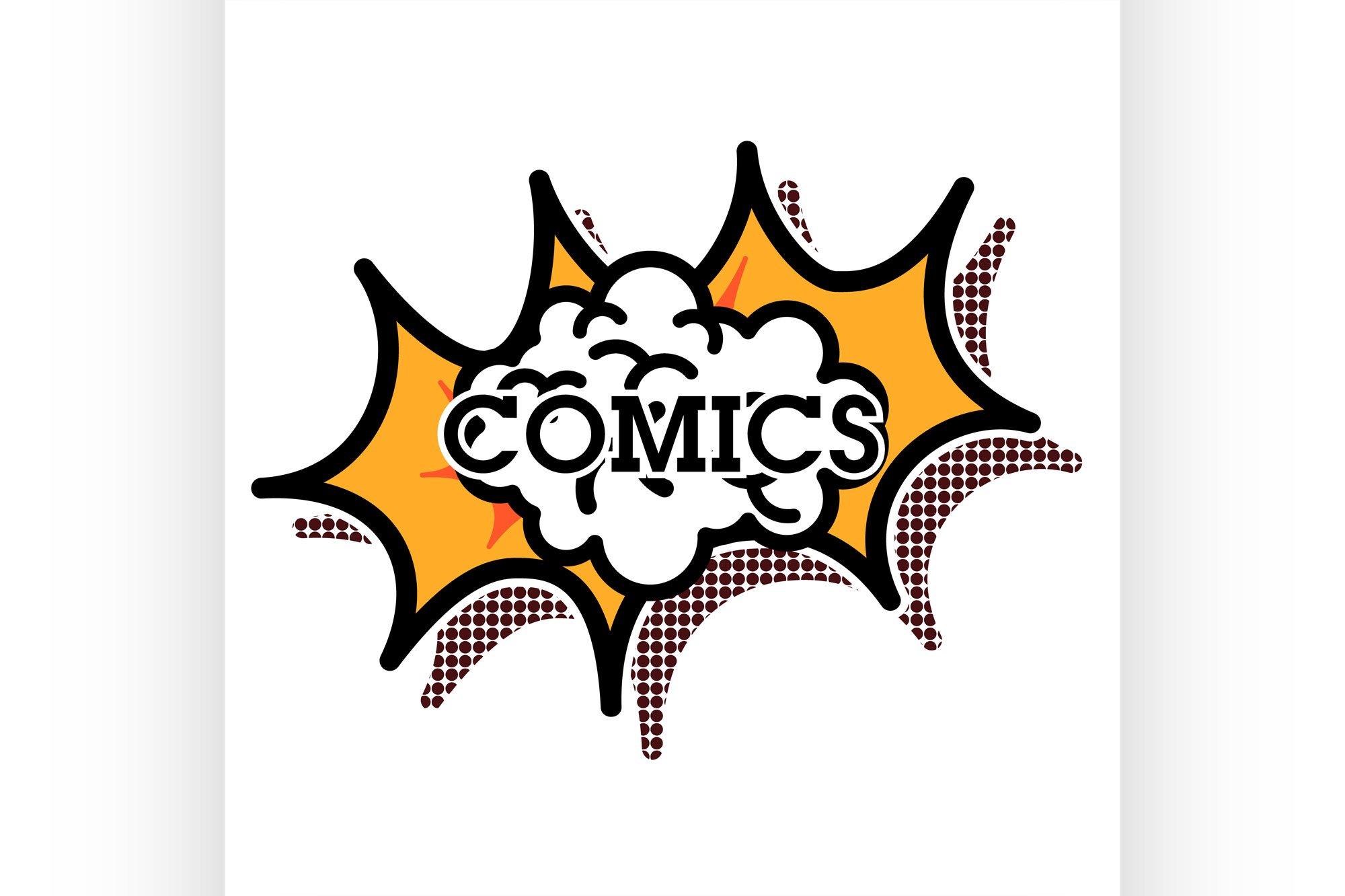 Color vintage comics shop emblem example image 1