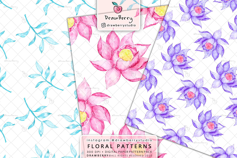 Watercolor Floral Digital Paper Pack example image 2