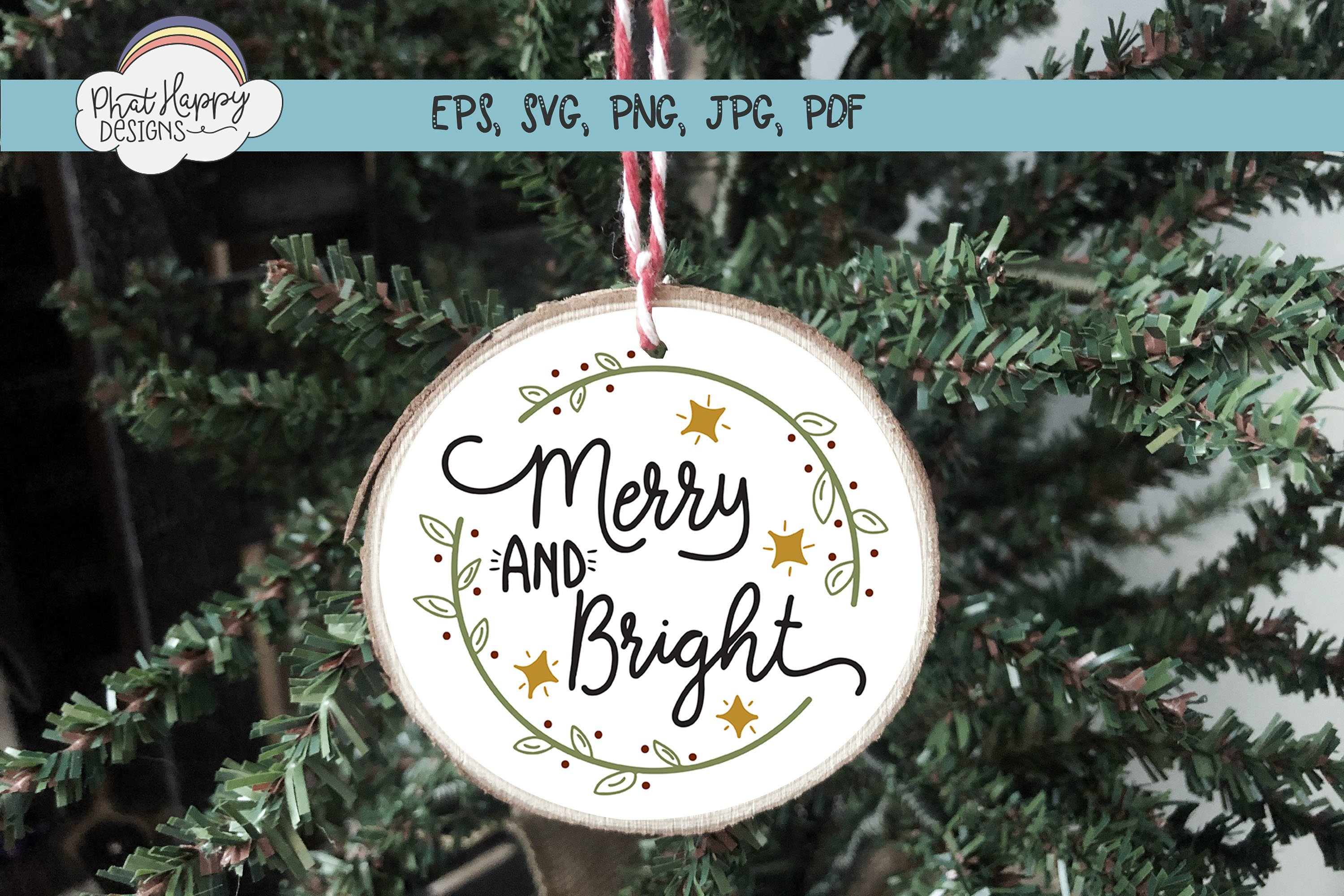 Merry & Bright - Hand Lettered Christmas SVG example image 4