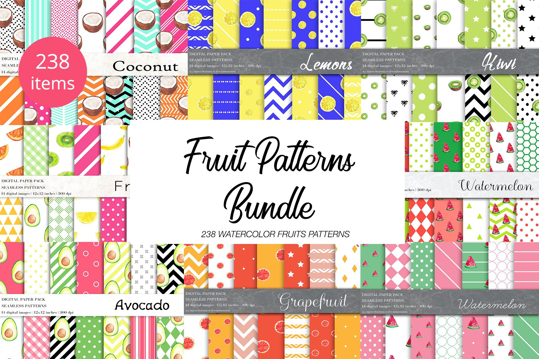 Watercolor Fruit Patterns Bundle example image 1