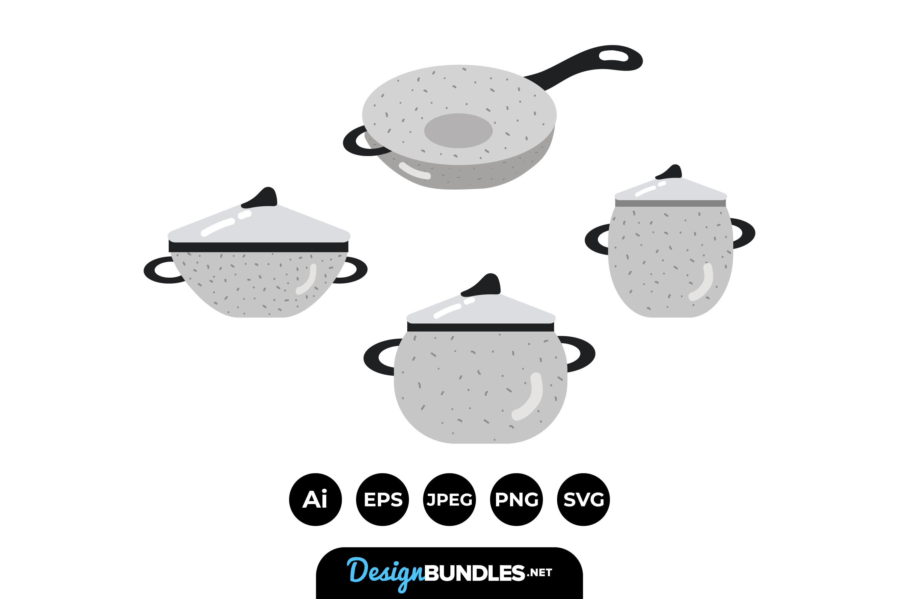Kitchen Pots Illustrations example image 1
