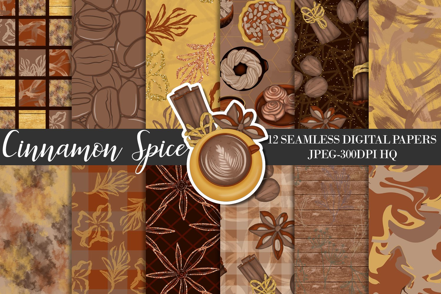 Cinnamon Spice Autumn Digital Paper, Fall Coffee Backgrounds example image 1