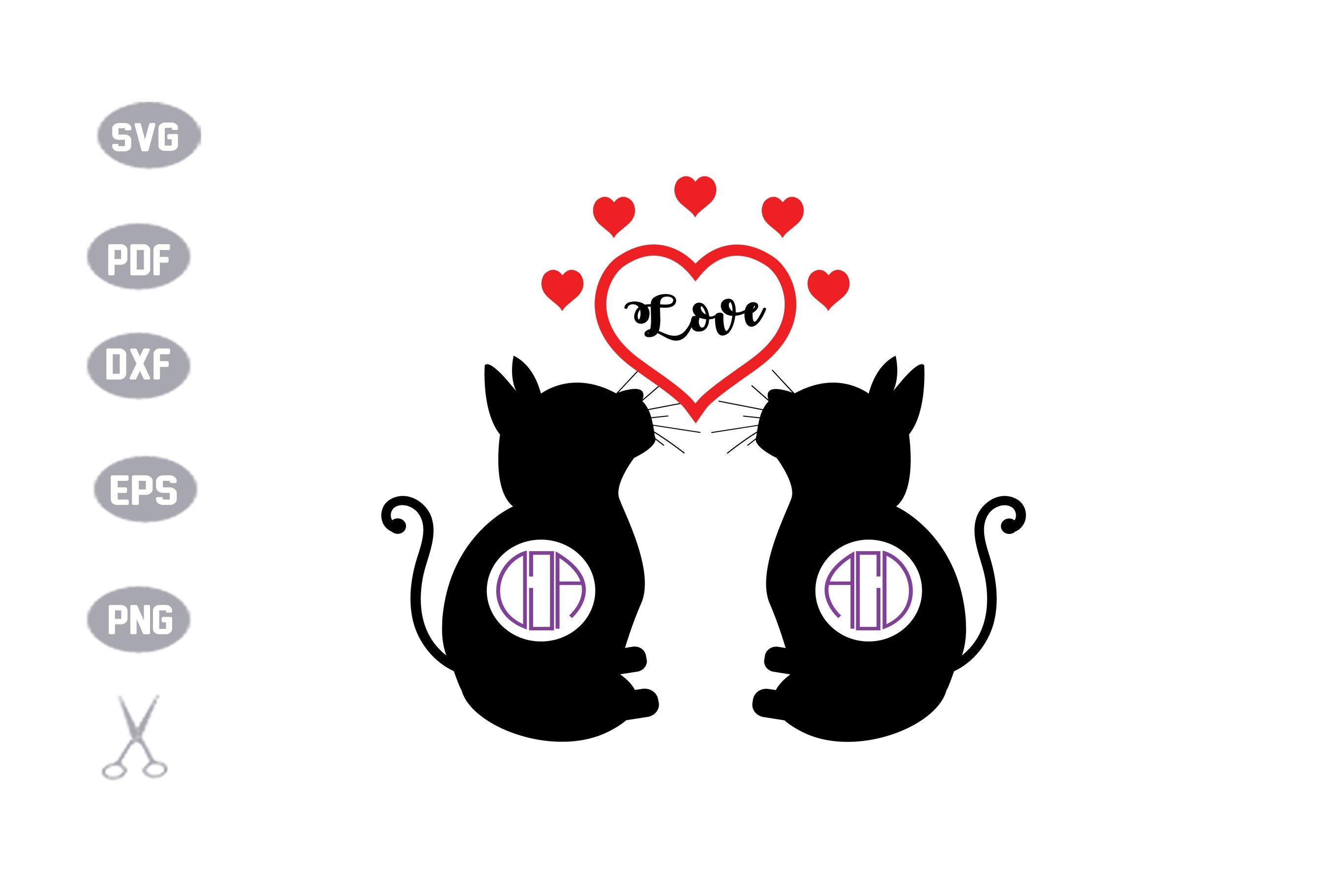 Couple Cat Monogram SVG example image 1