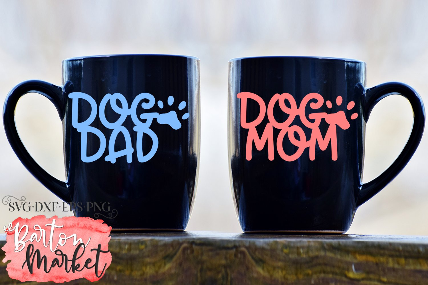 Dog Mom Dog Dad SVG DXF EPS PNG example image 1