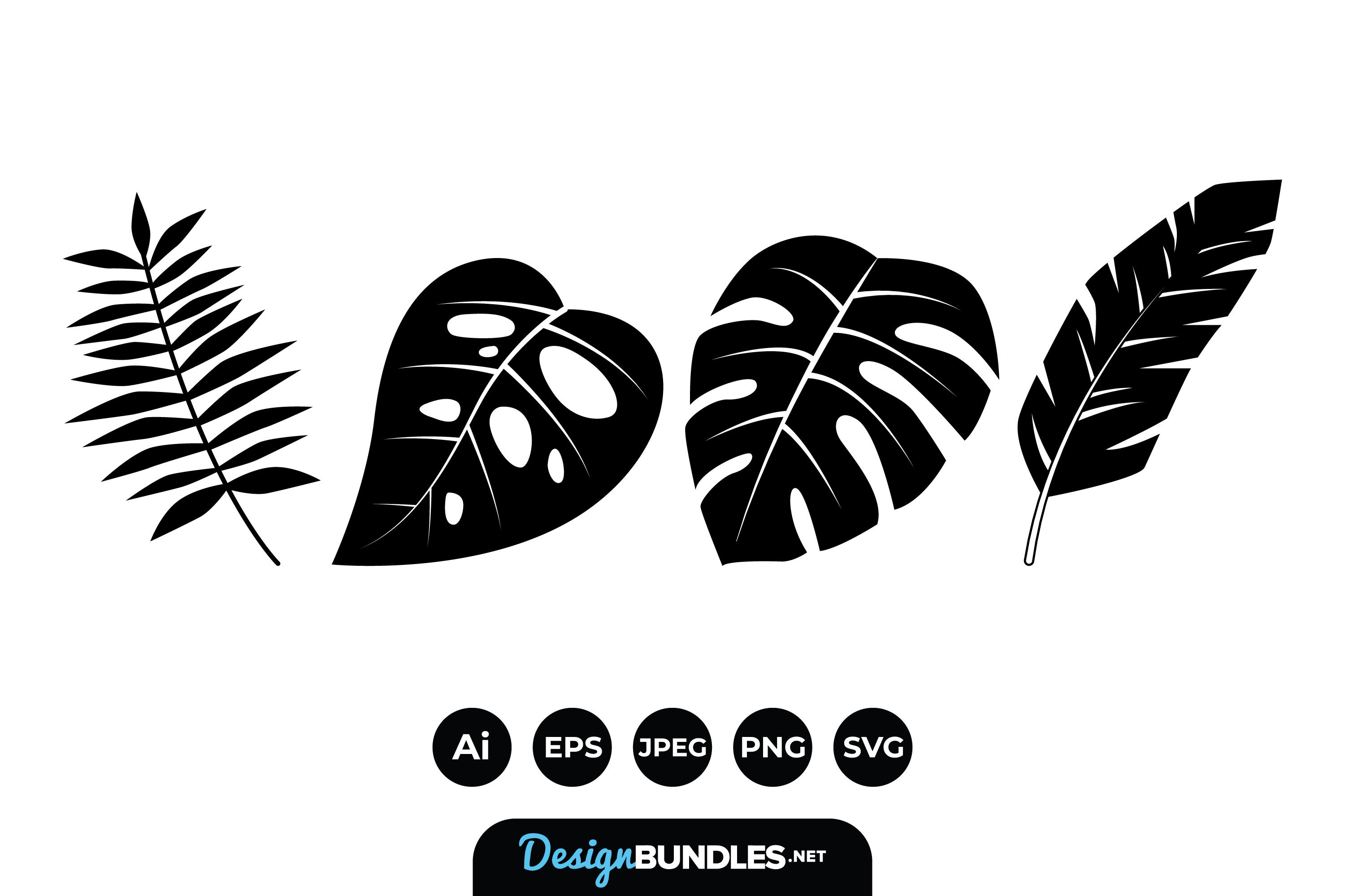 Tropical Leaves Silhouttes example image 1