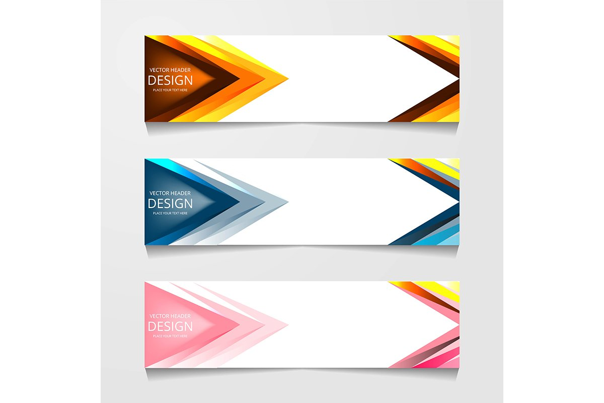 Vector abstract banner design web template. Collection of we example image 1