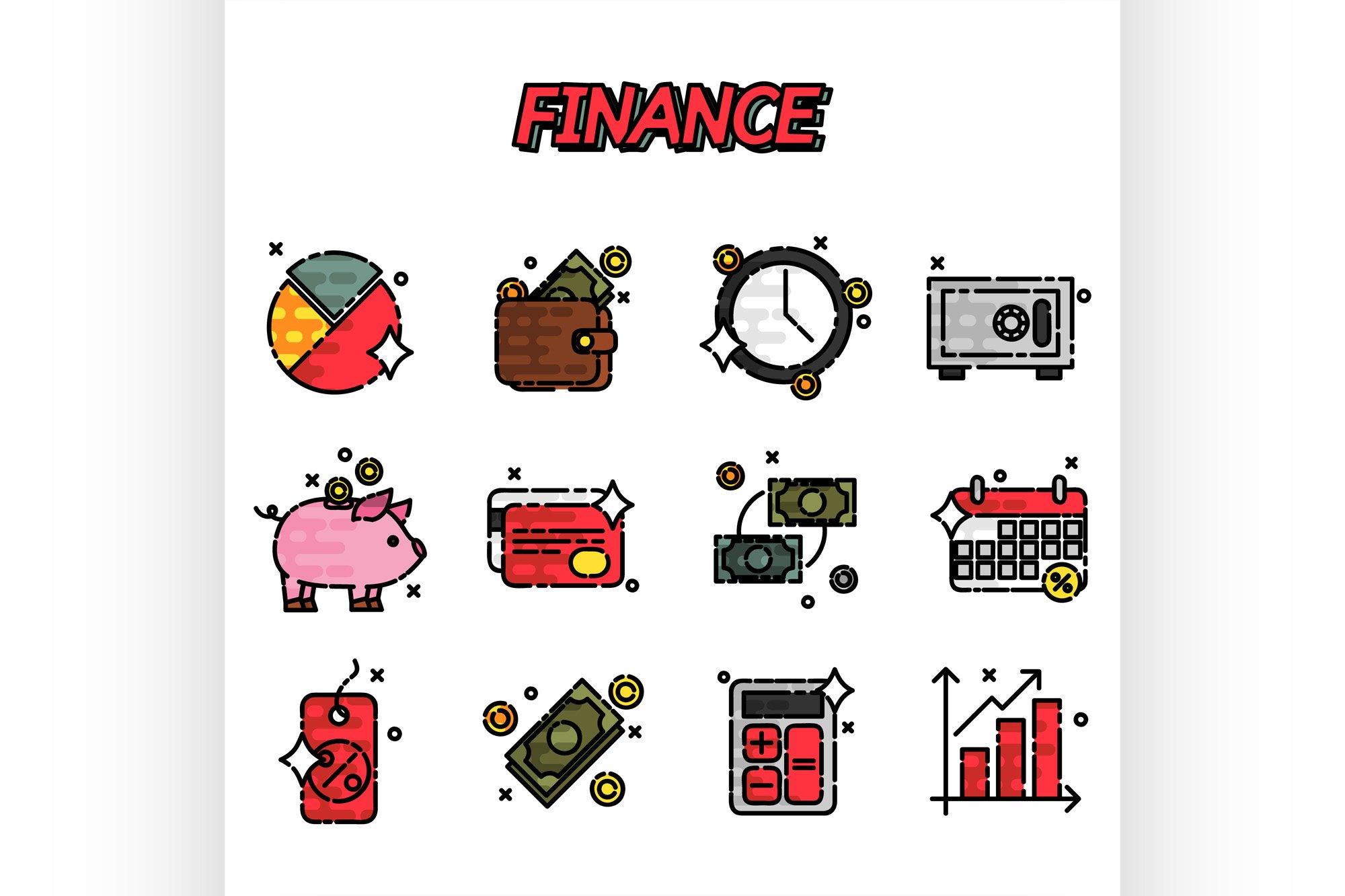 Finance flat icons set example image 1