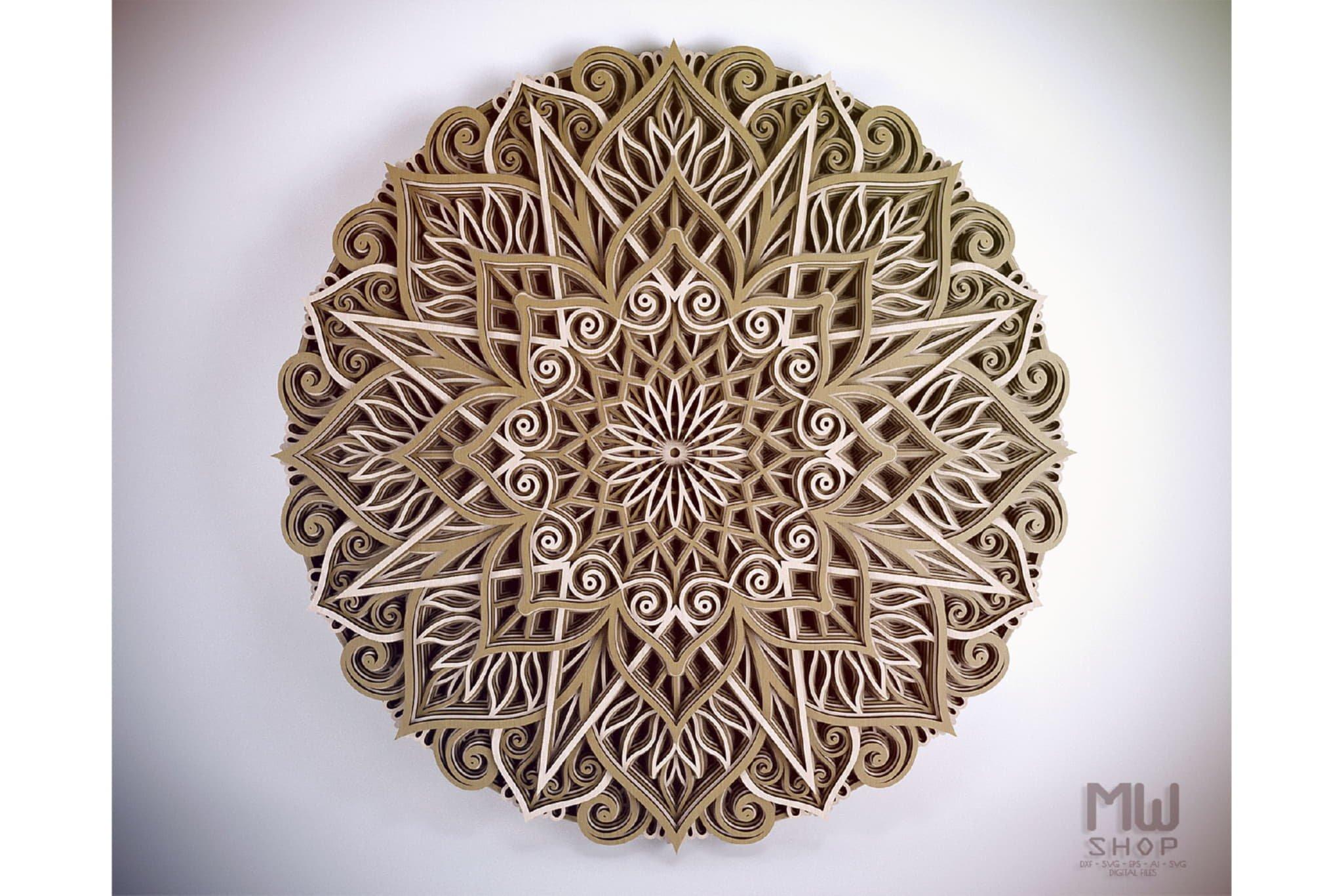 M89 - Mandala DXF Laser Cut Pattern, Flower mandala pattern example image 7
