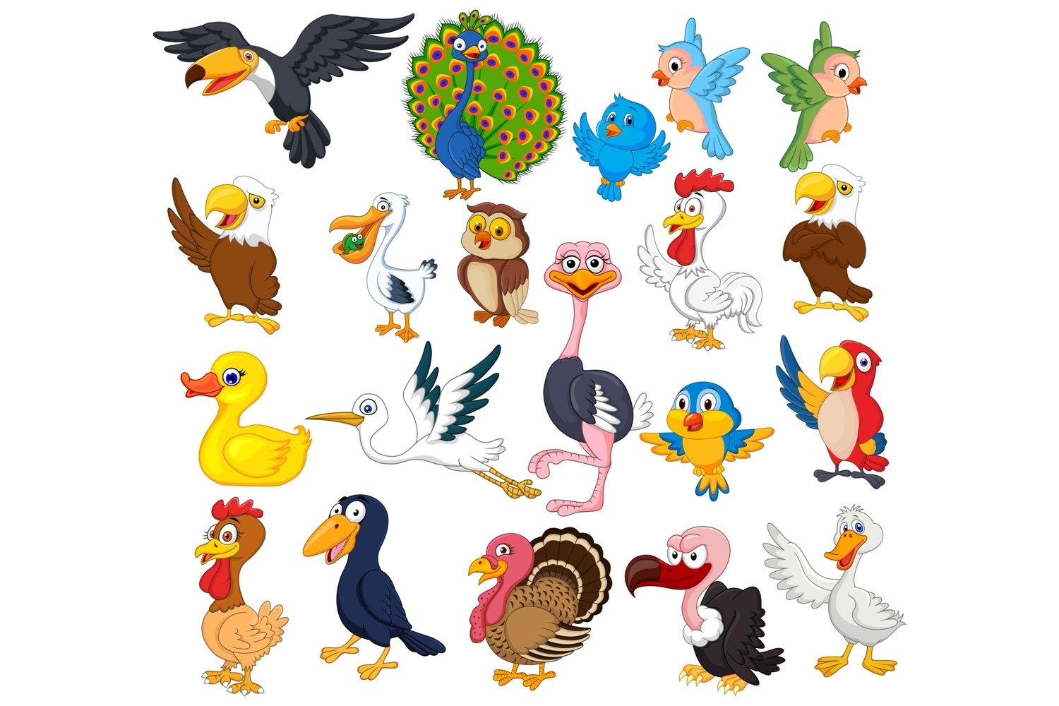 Cartoon Birds Clipart Set Graphic example image 1