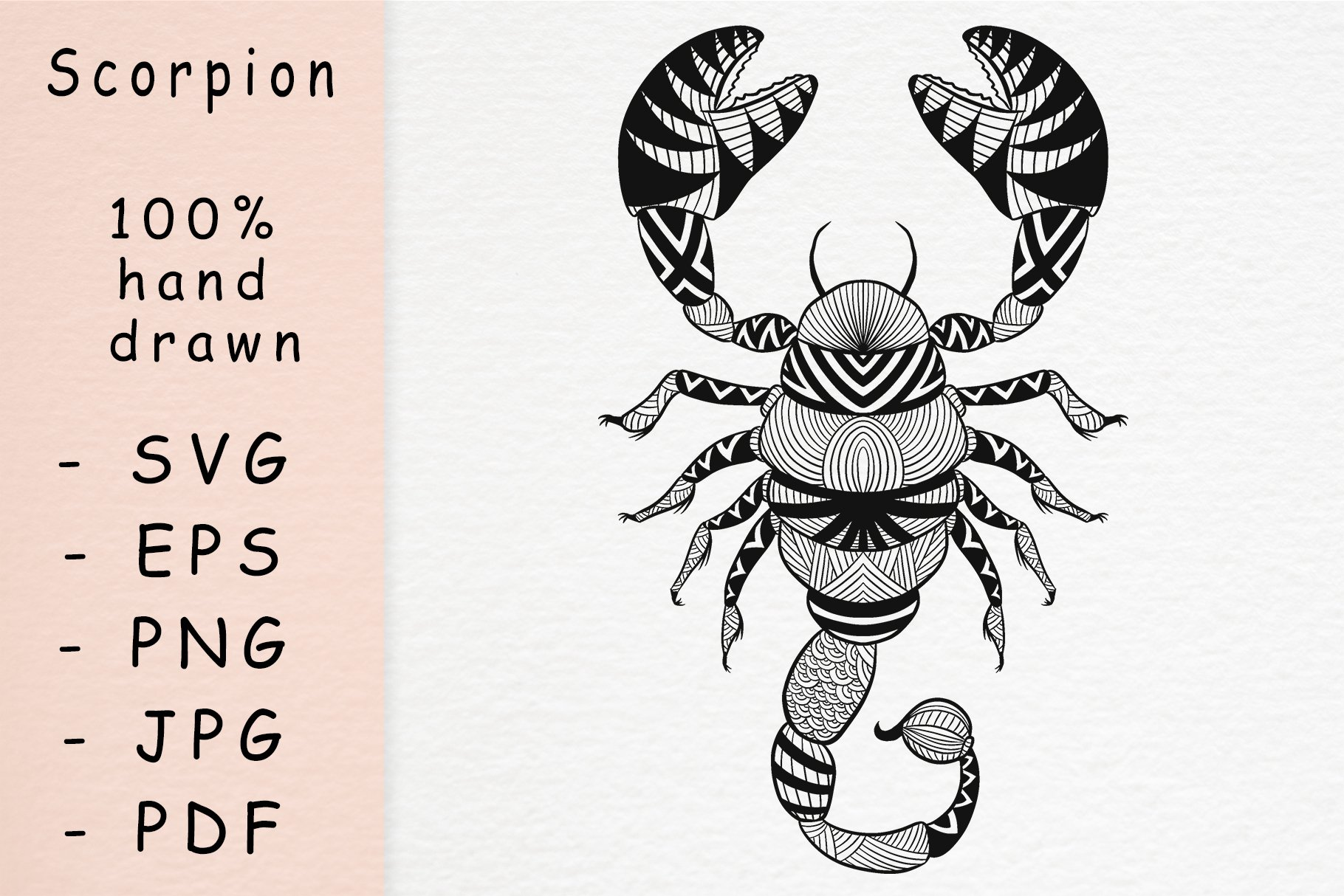 Hand drawn scorpion with patterns example image 1