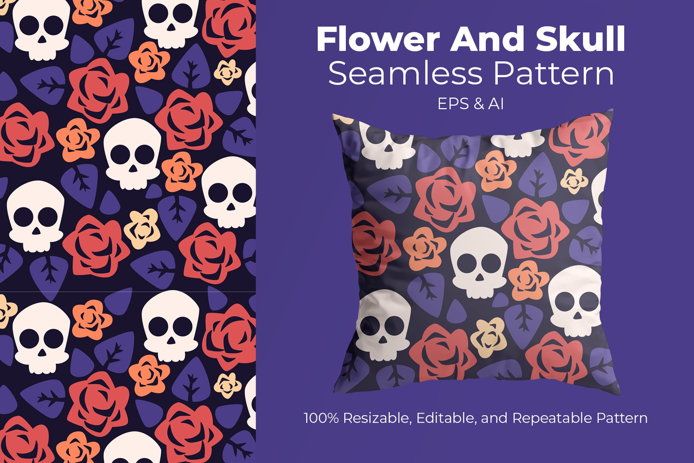 Flower And Skull - Seamless Pattern example image 1