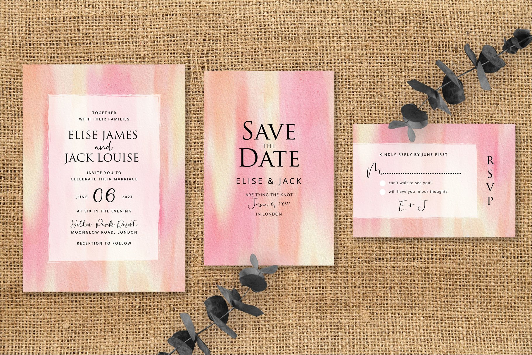 Yellow Pink Abstract Wedding Invitation Set example image 2