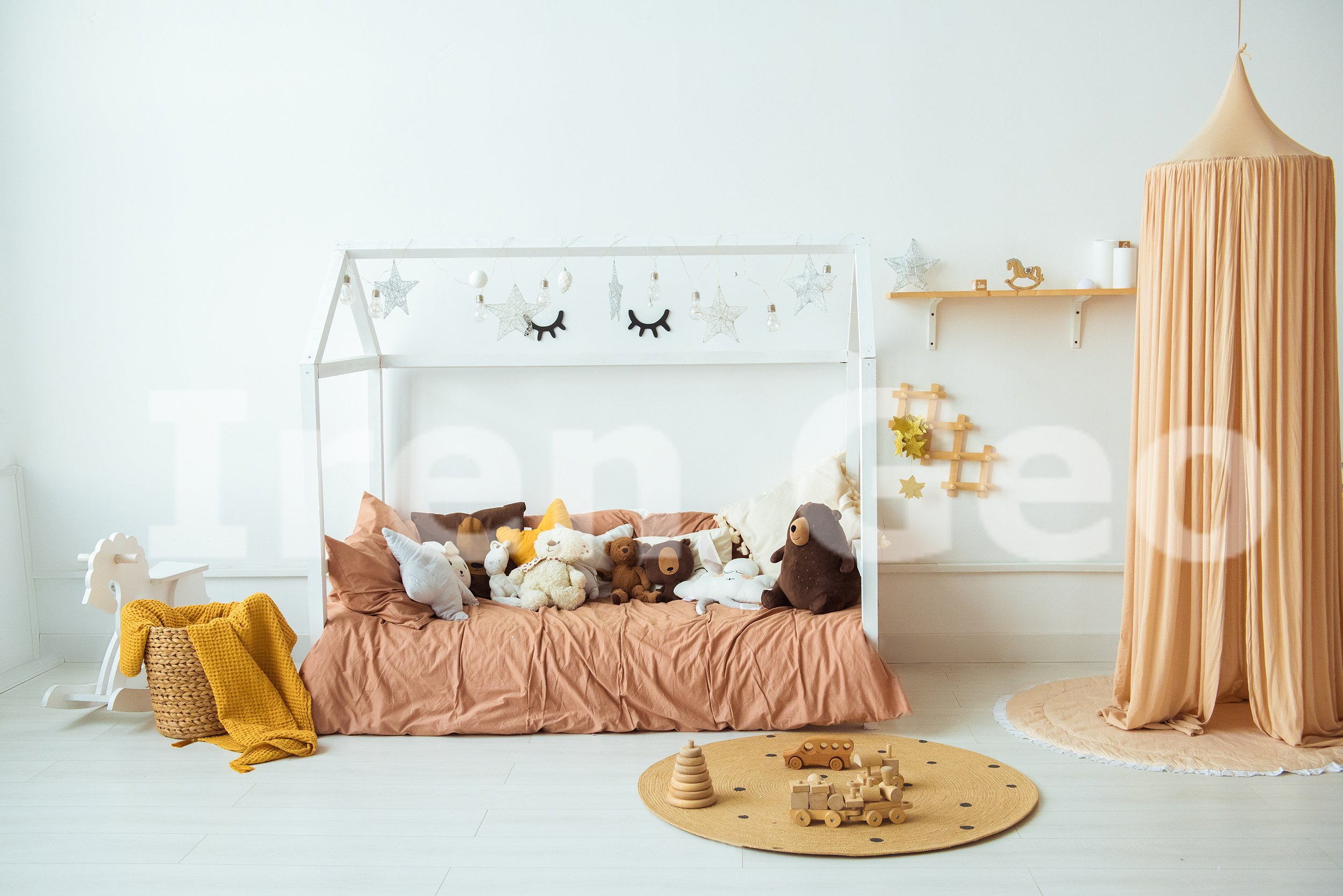 Interior of the children's room. Soft bed and lots of toys example image 1