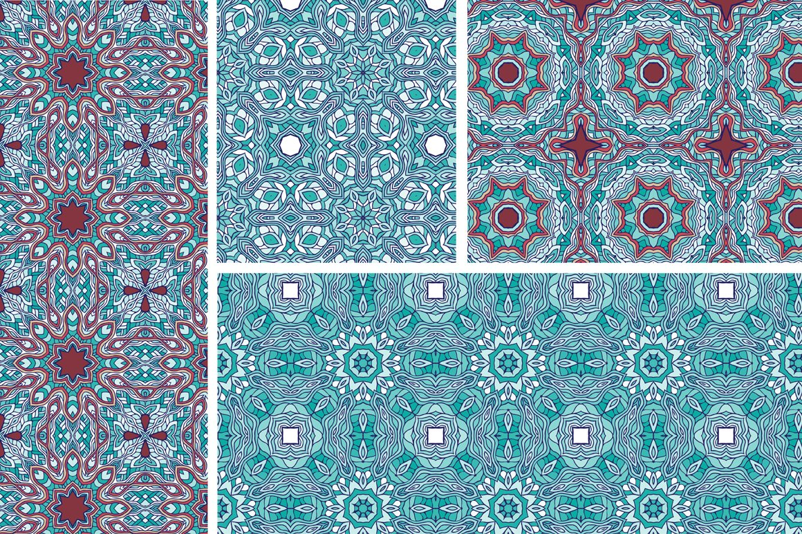 Set of 12 oriental seamless patterns example image 5