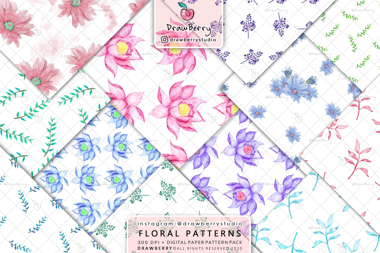 Watercolor Floral Digital Paper Pack example image 1