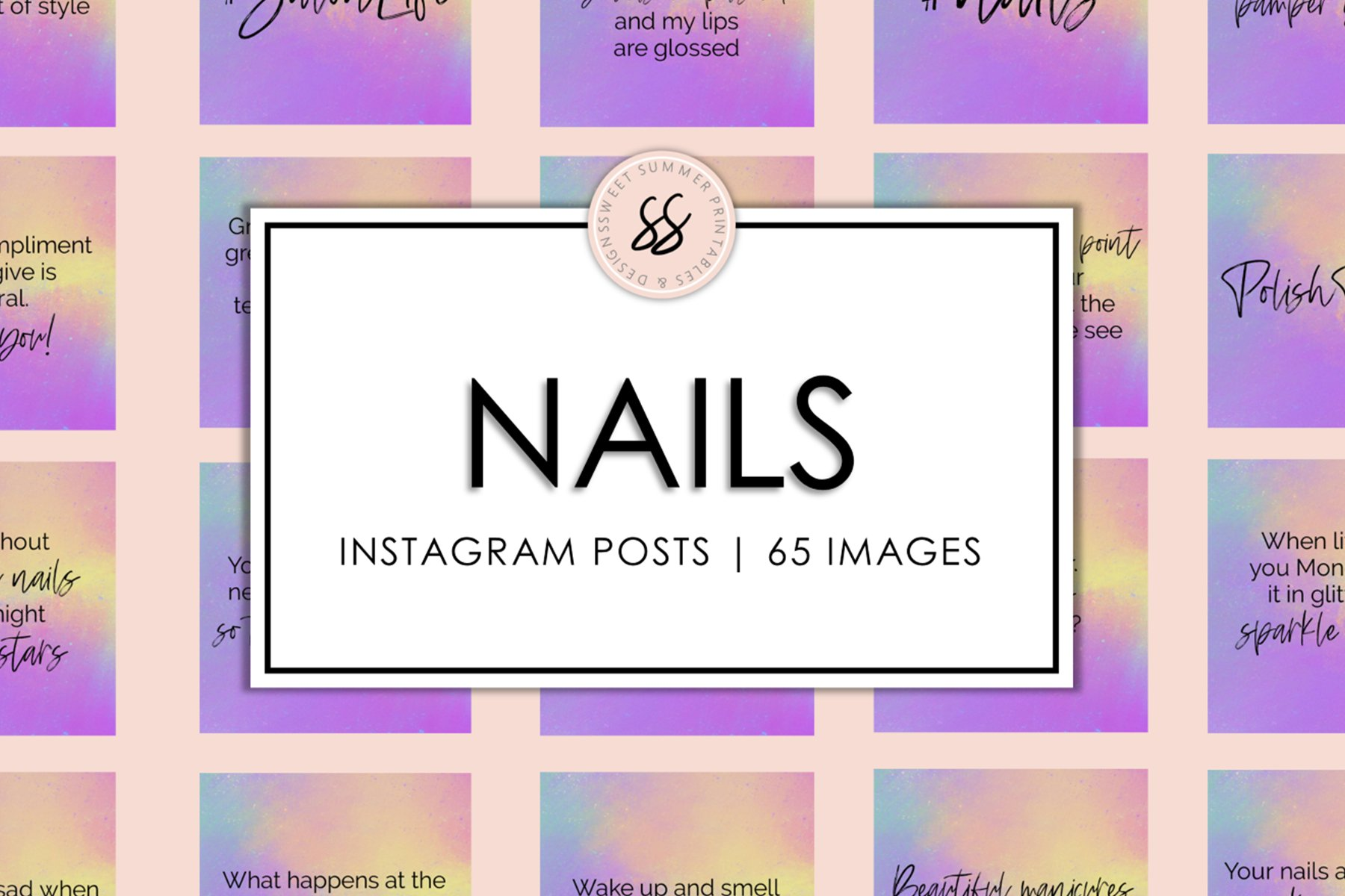Nails Rainbow Splash Instagram Posts example image 1