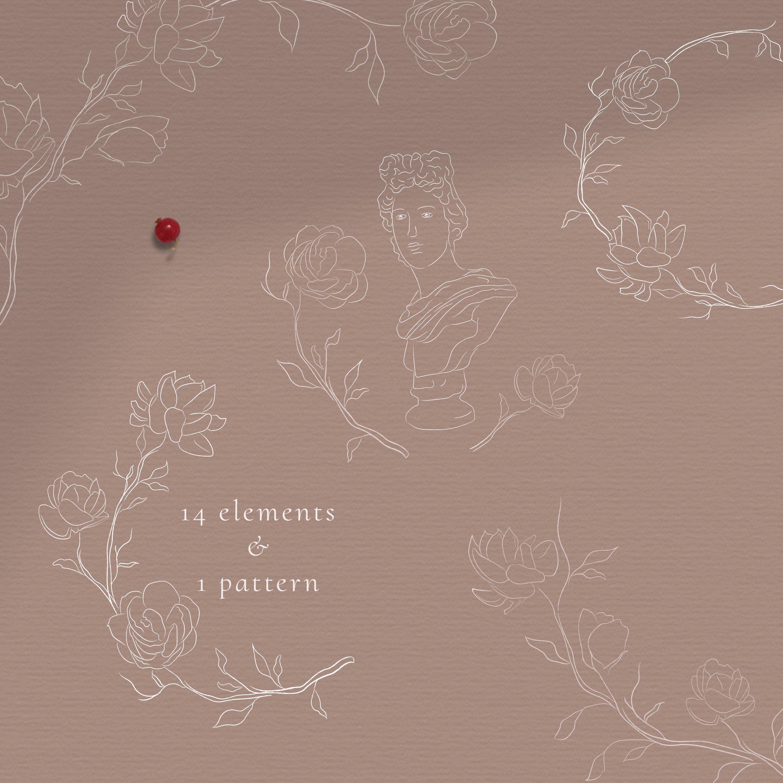 Line drawing White Jasmine Flower illustrations. Wreaths. example image 6