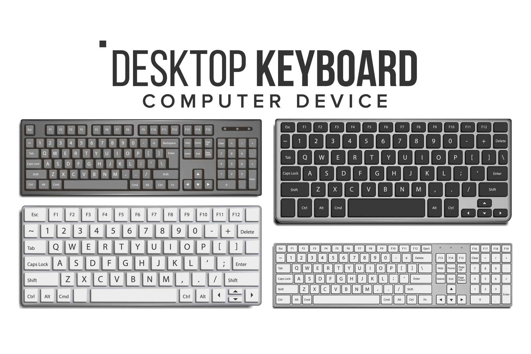 Desktop Keyboard Set Vector. Wireless Modern Plastic Tool. example image 1